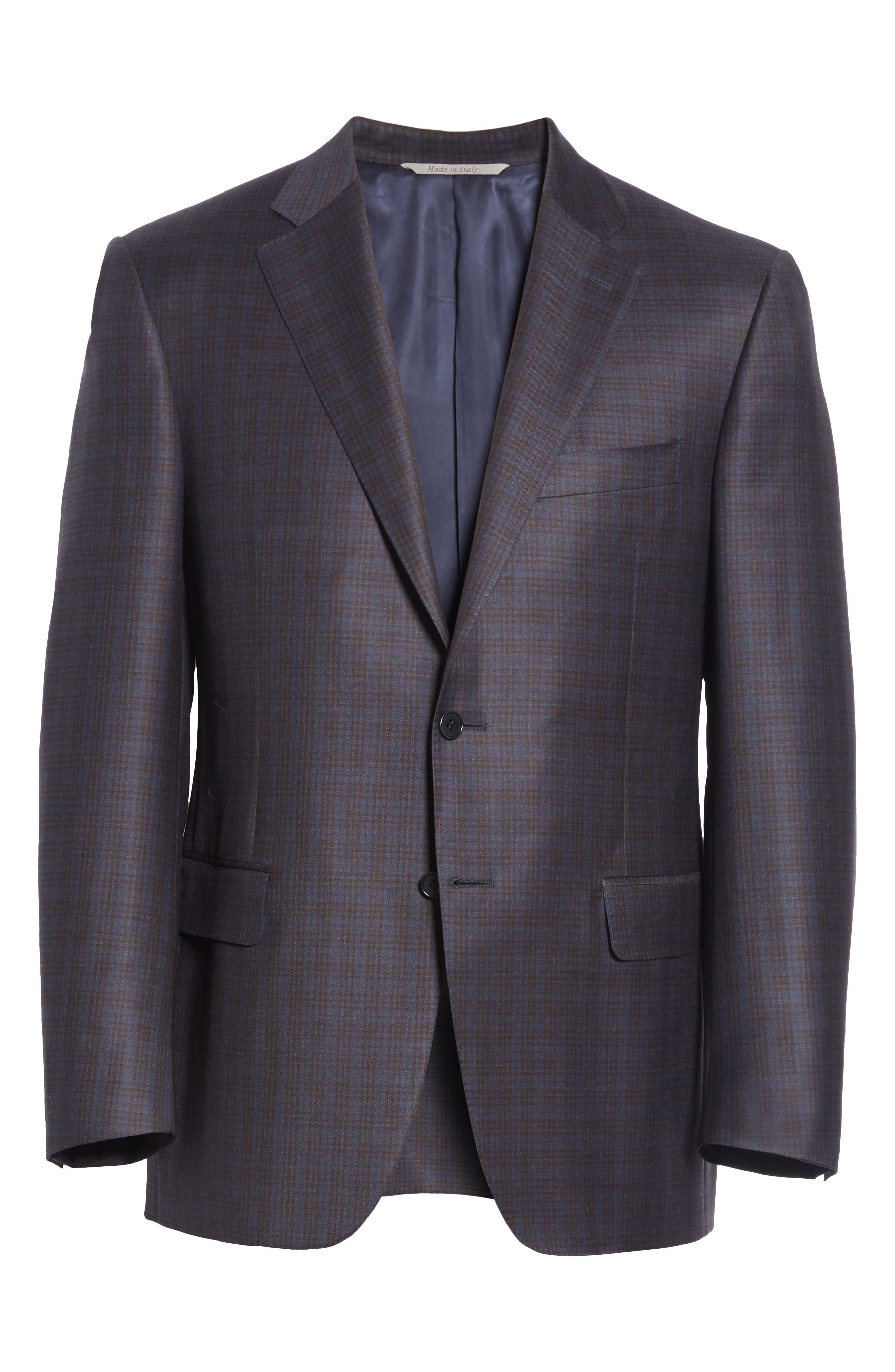 Classic Fit Plaid Wool Sport Coat,                             Alternate thumbnail 6, color,                             Dark Blue