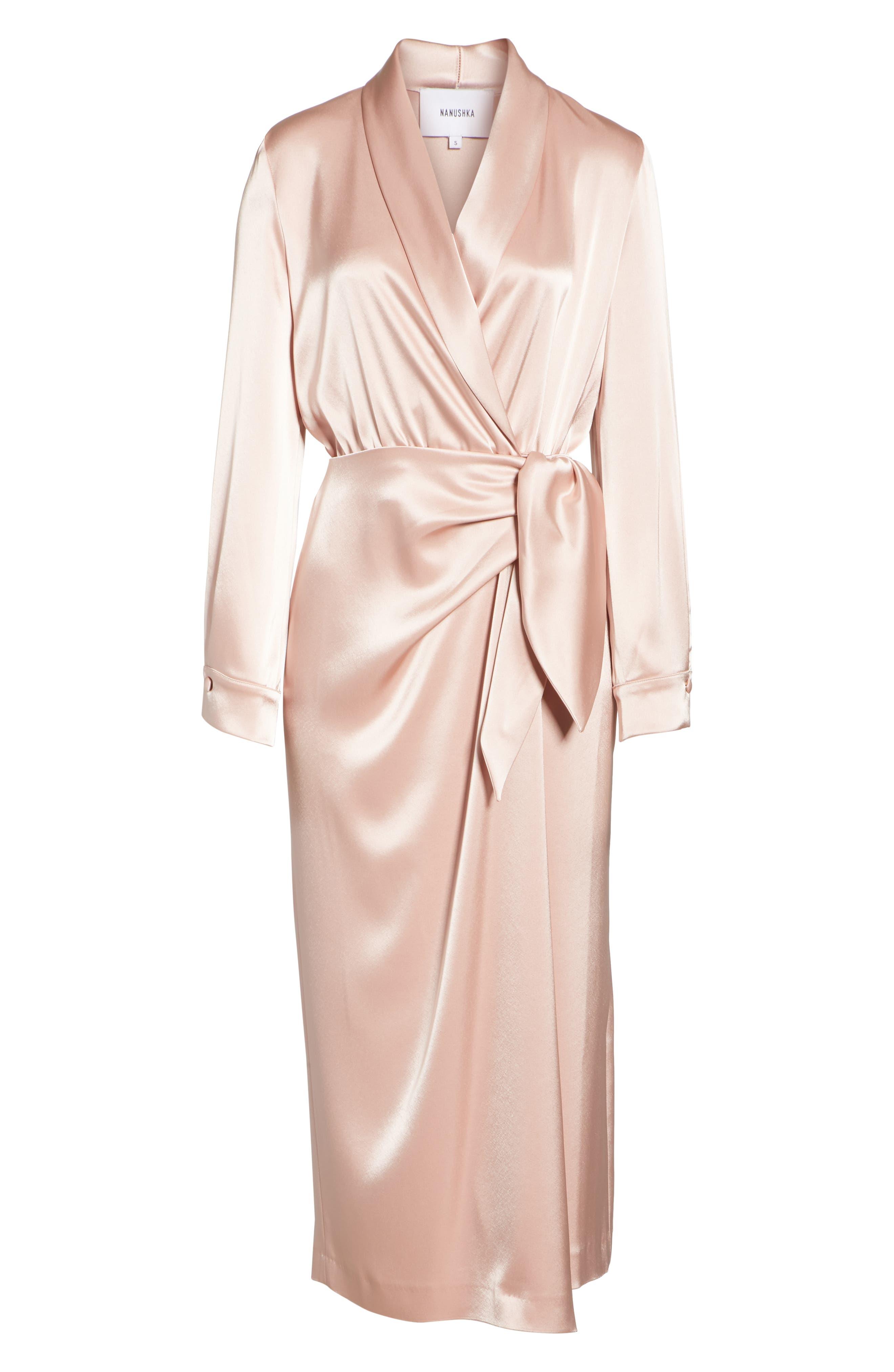 Ezra Satin Wrap Dress,                             Alternate thumbnail 6, color,                             Desert Rose