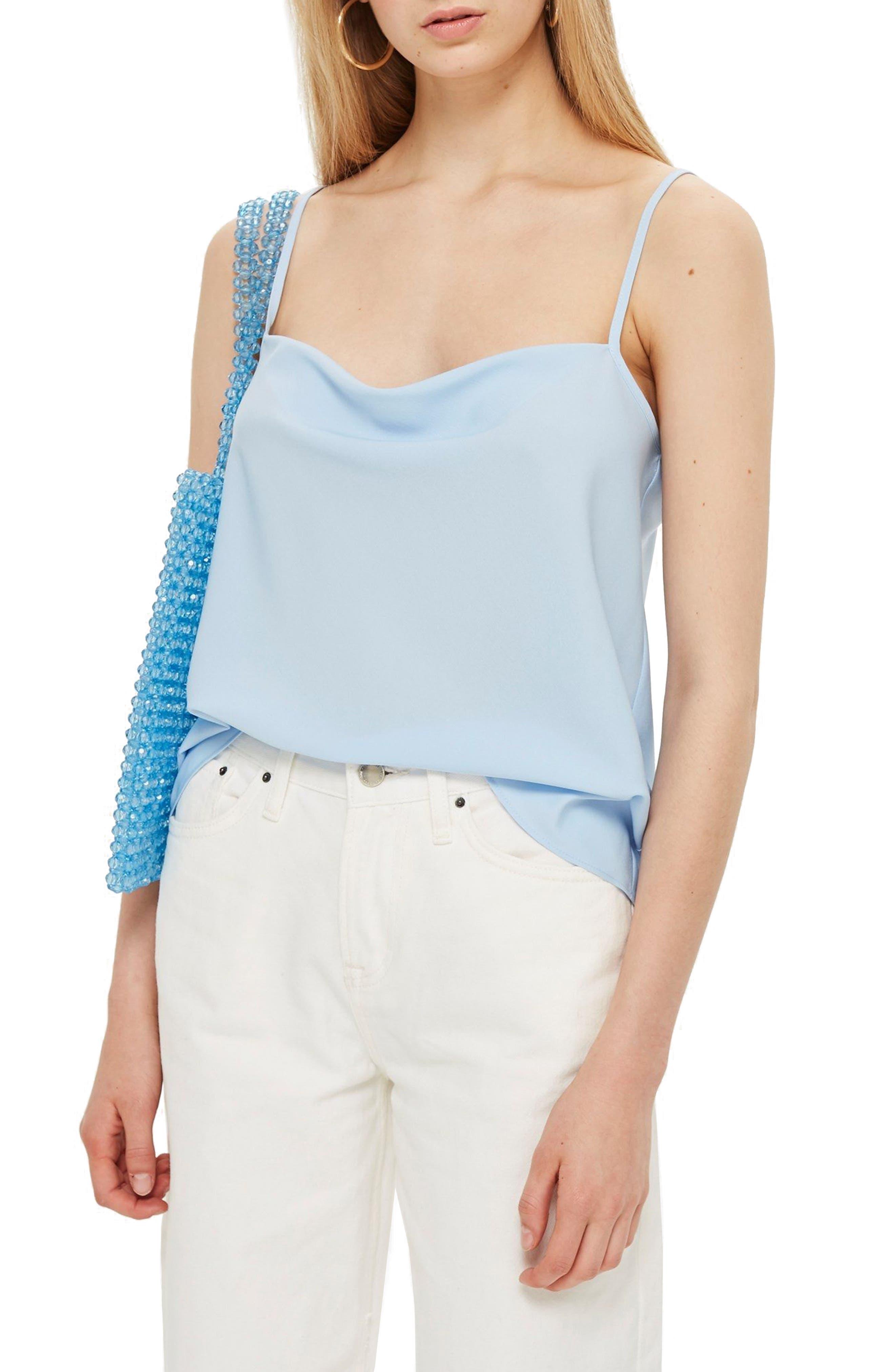 Cowl Neck Camisole,                         Main,                         color, Light Blue