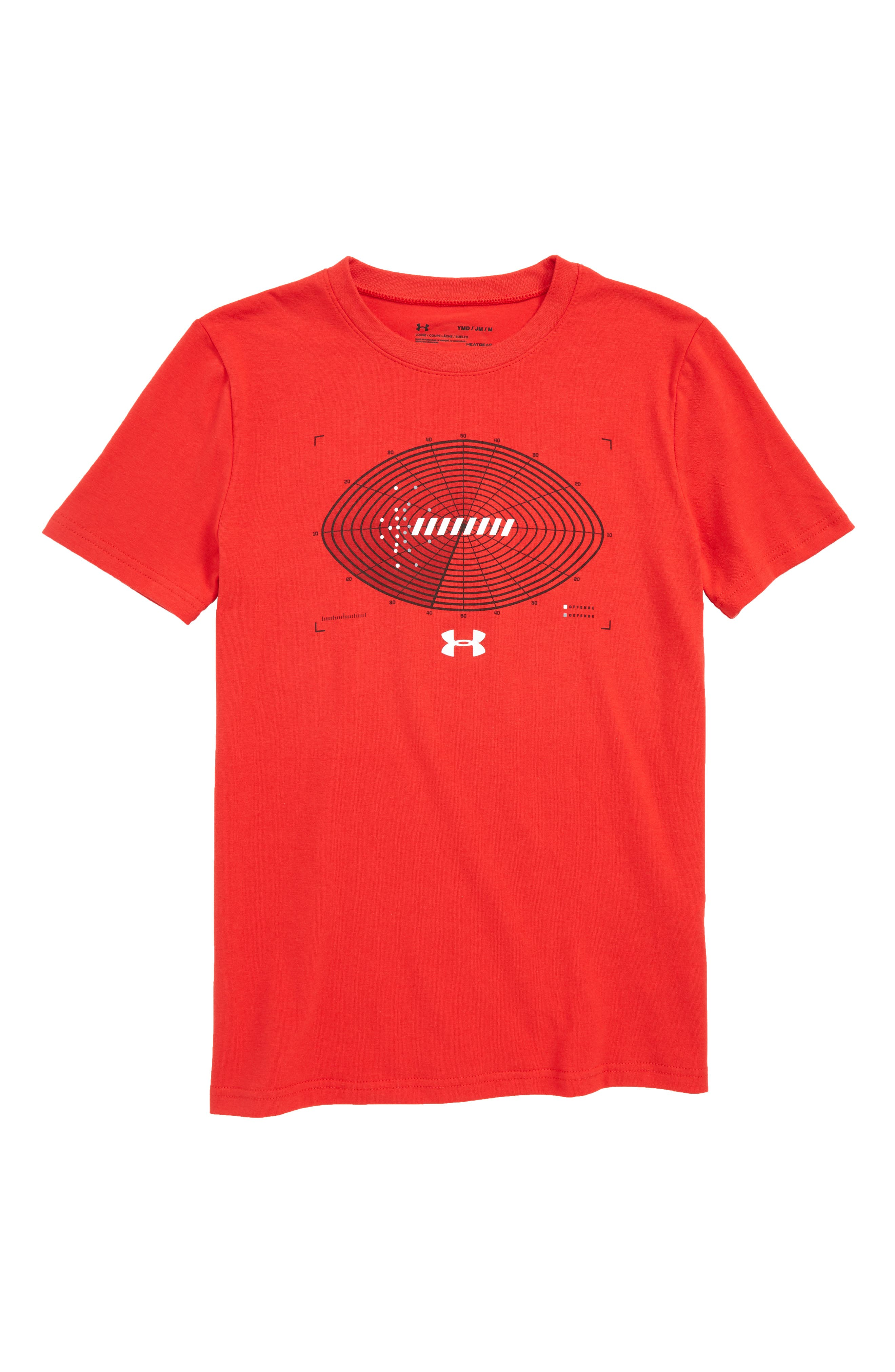Aerial Football HeatGear<sup>®</sup> Charged Cotton<sup>®</sup> T-Shirt,                         Main,                         color, Red/ White