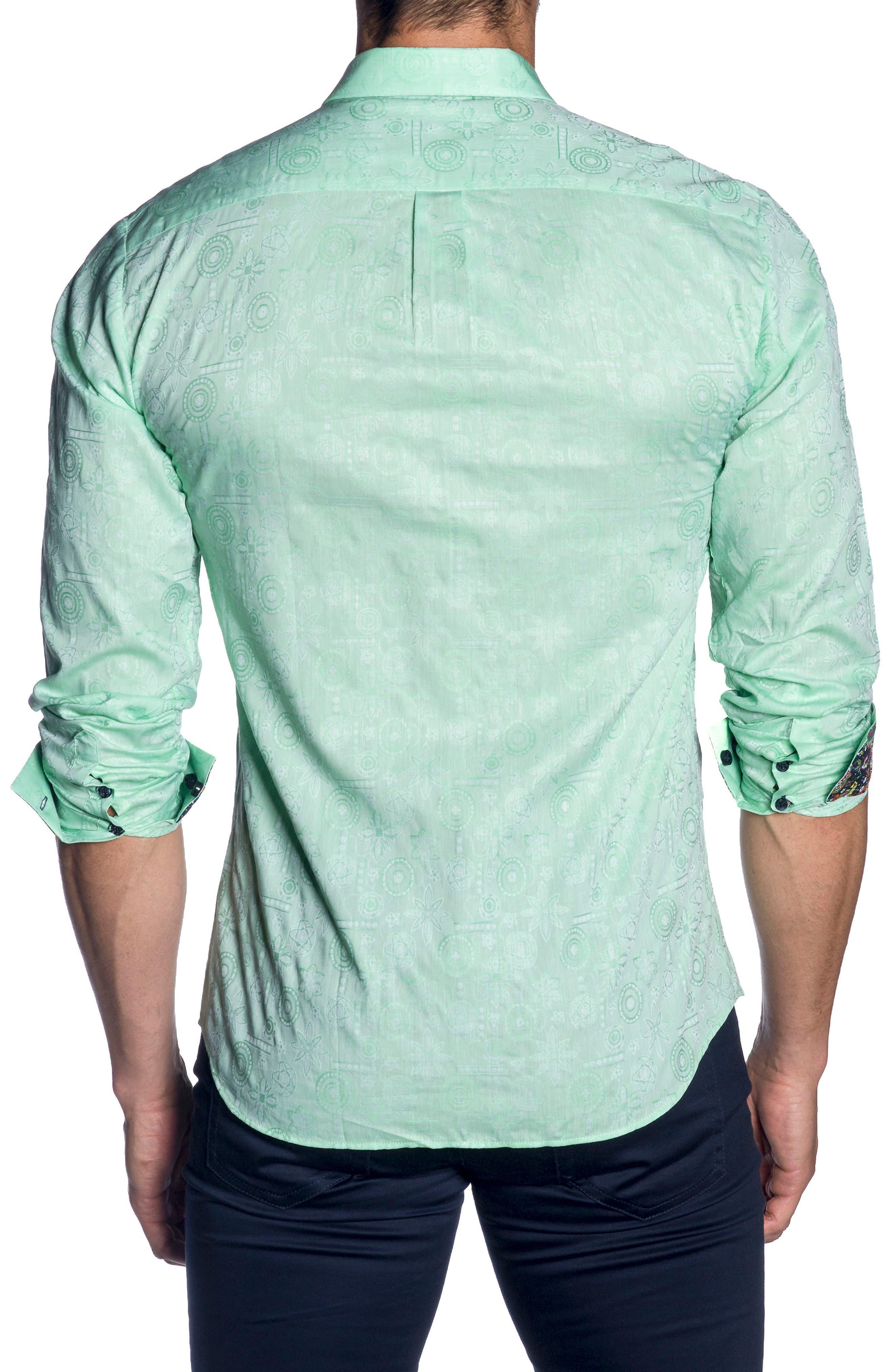 Trim Fit Sport Shirt,                             Alternate thumbnail 2, color,                             Green