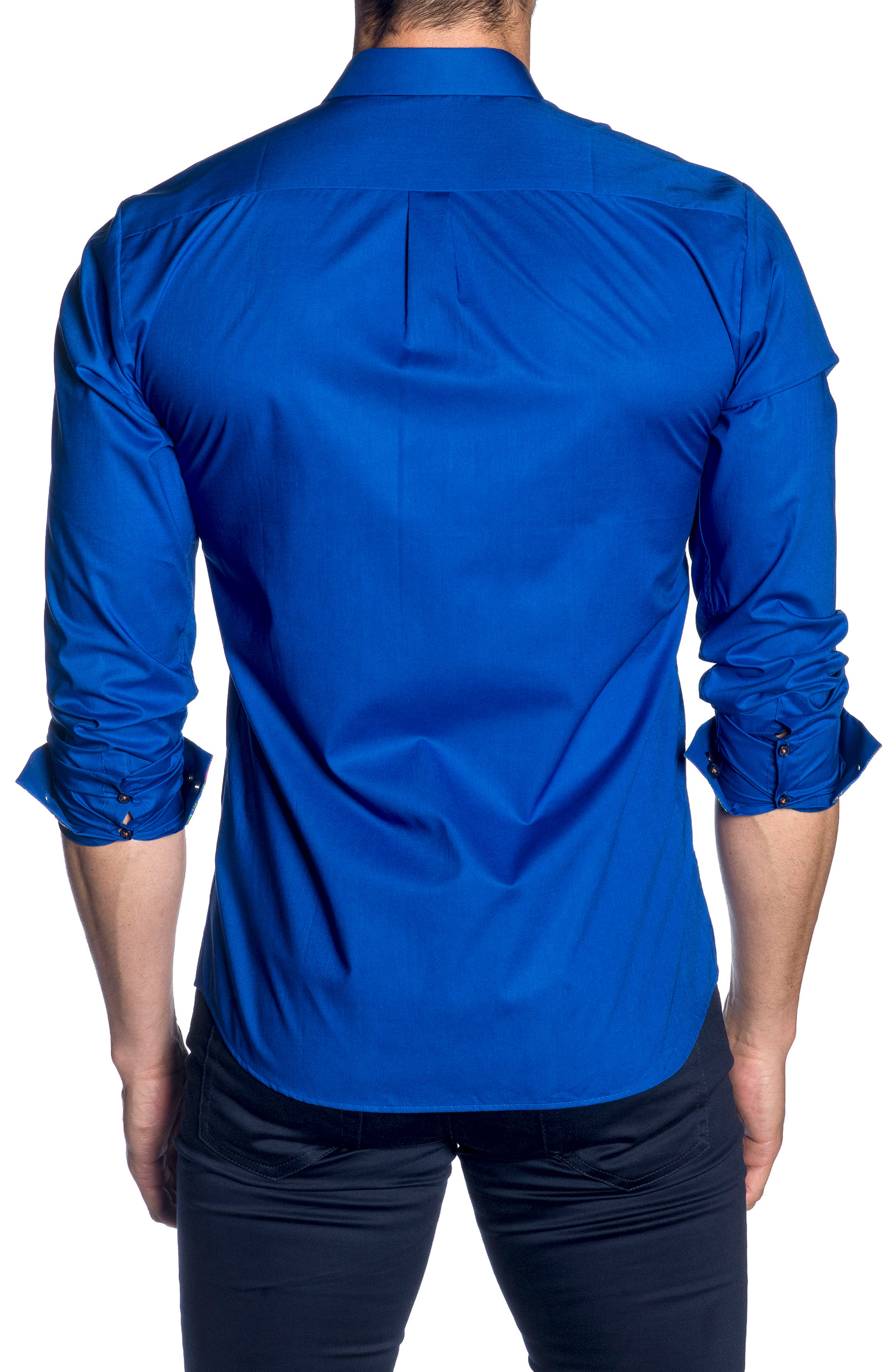Trim Fit Sport Shirt,                             Alternate thumbnail 2, color,                             Blue