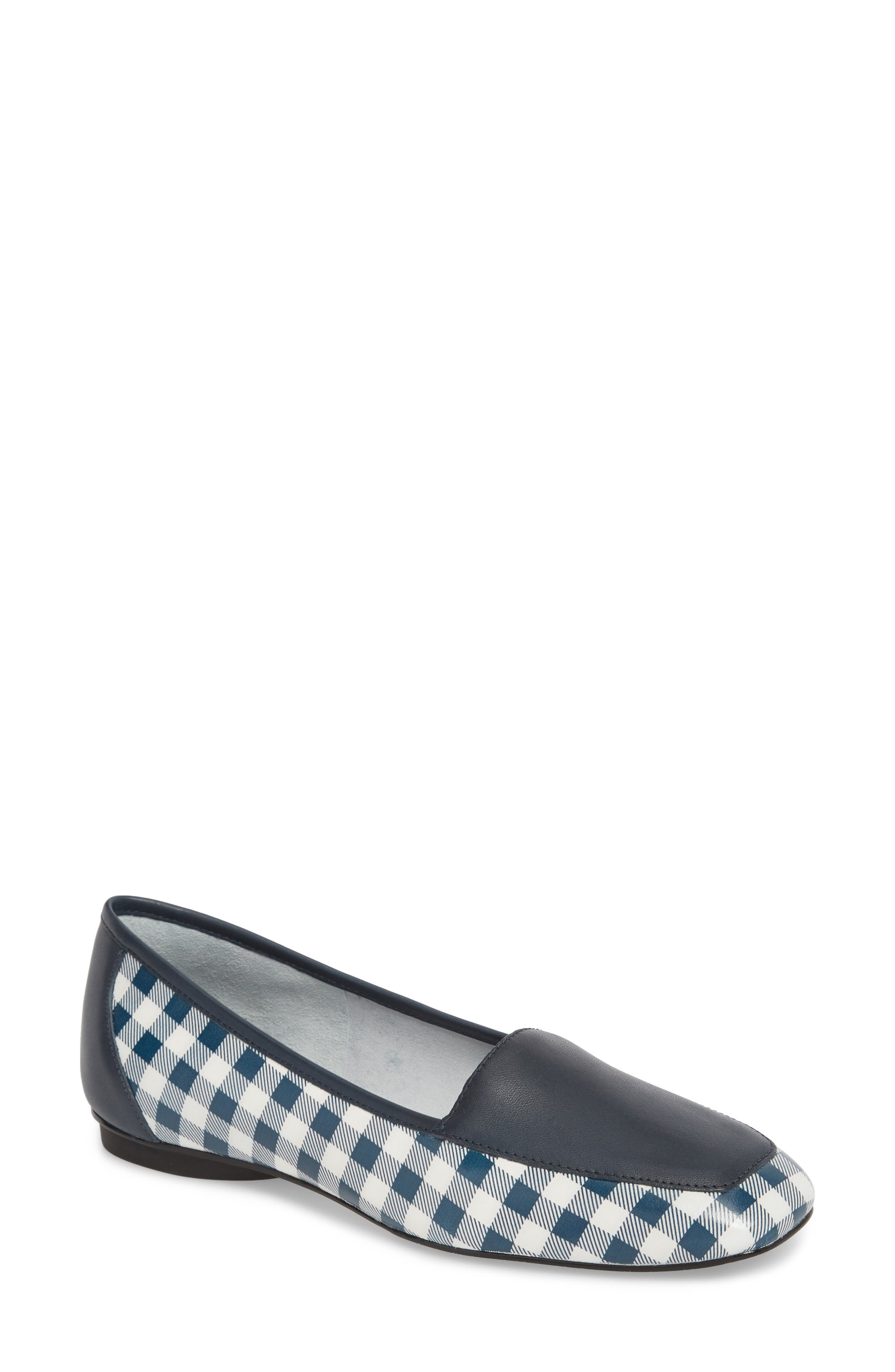 Deedee Apron Toe Flat,                         Main,                         color, Navy/ Navy Leather