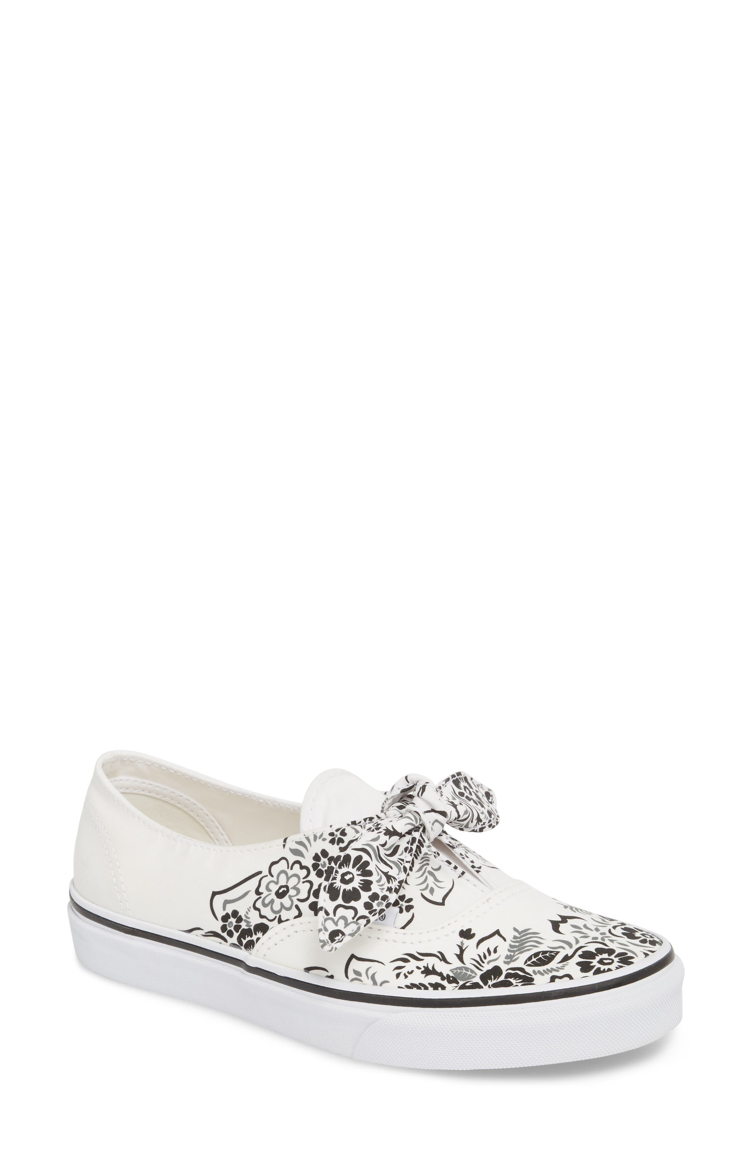 UA Authentic Knotted Floral Bandana Slip-On Sneaker,                             Main thumbnail 1, color,                             Marshmallow