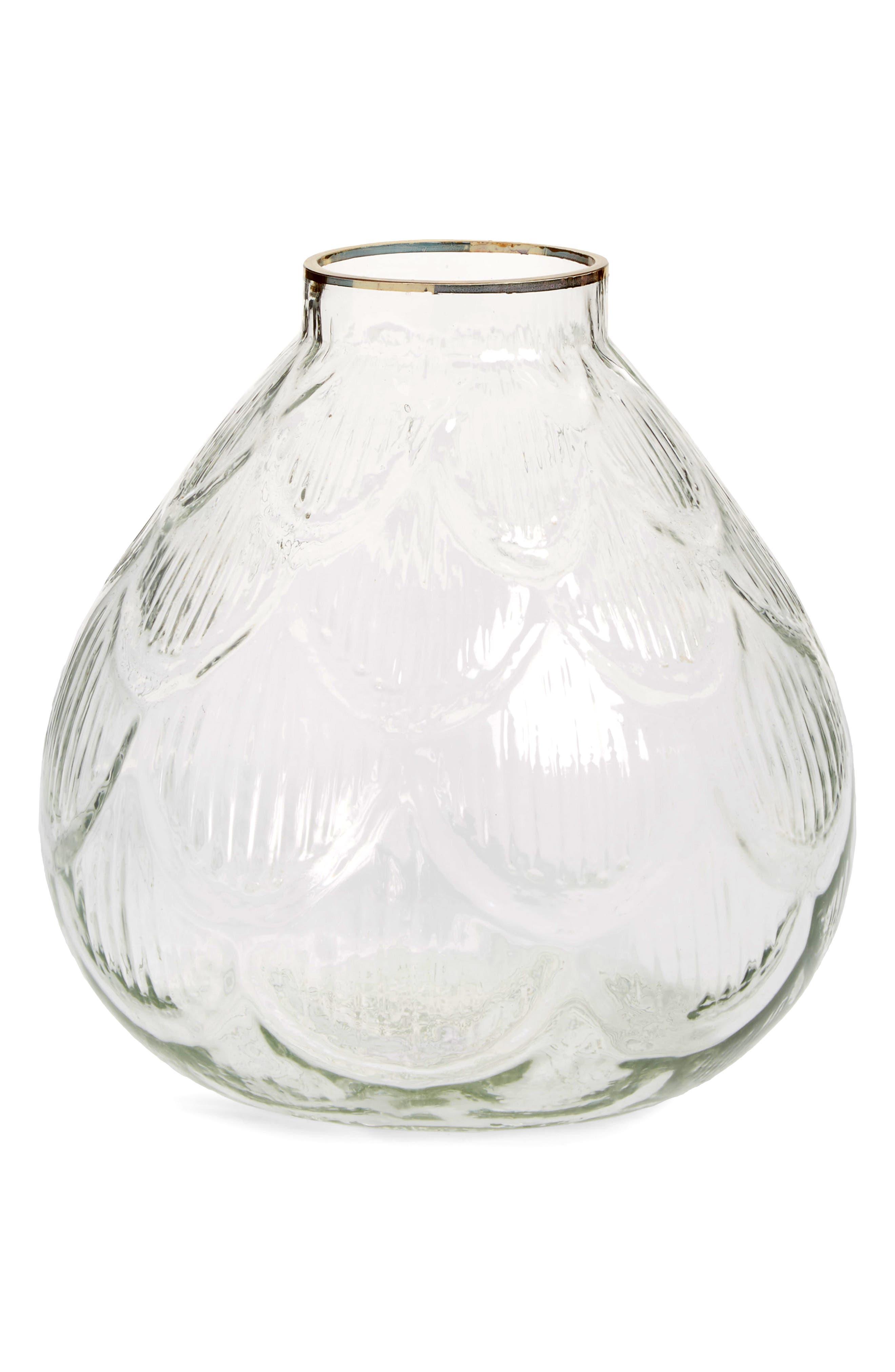 Small Petal Vase,                             Main thumbnail 1, color,                             Clear