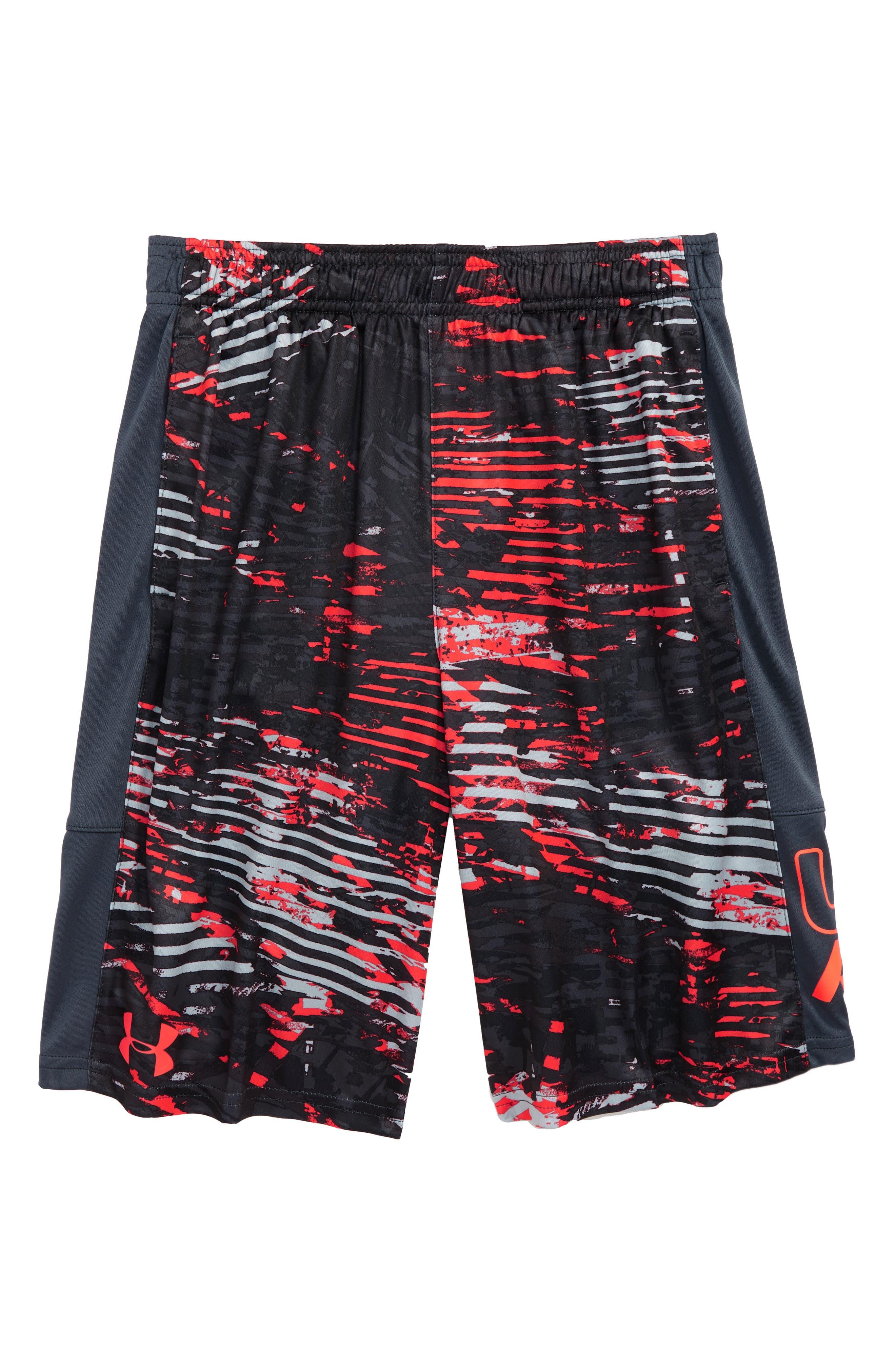 Stunt HeatGear<sup>®</sup> Shorts,                             Main thumbnail 1, color,                             Neon Coral/ Stealth Gray