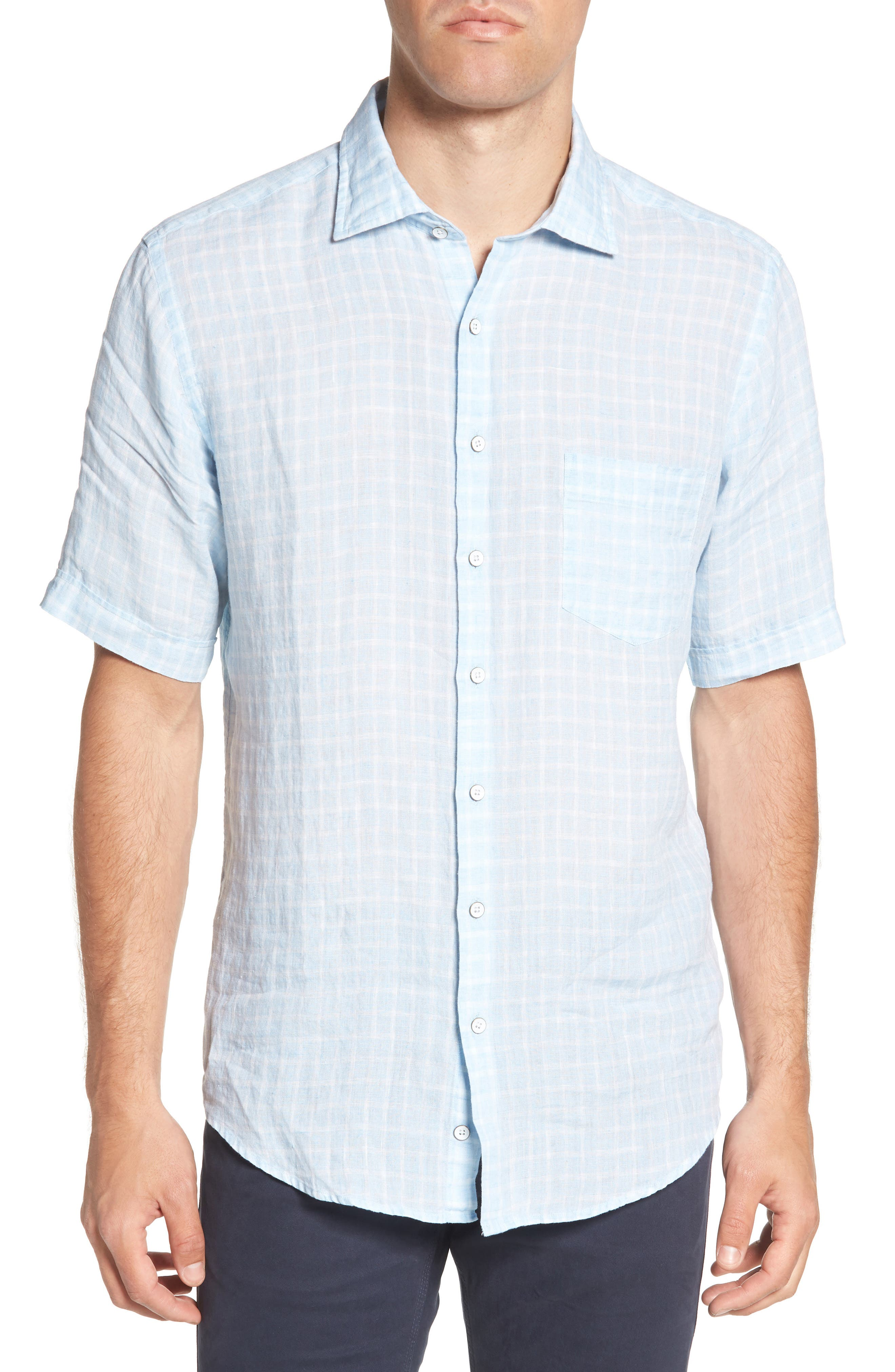 Avonside Check Linen Sport Shirt,                         Main,                         color, Stonewash
