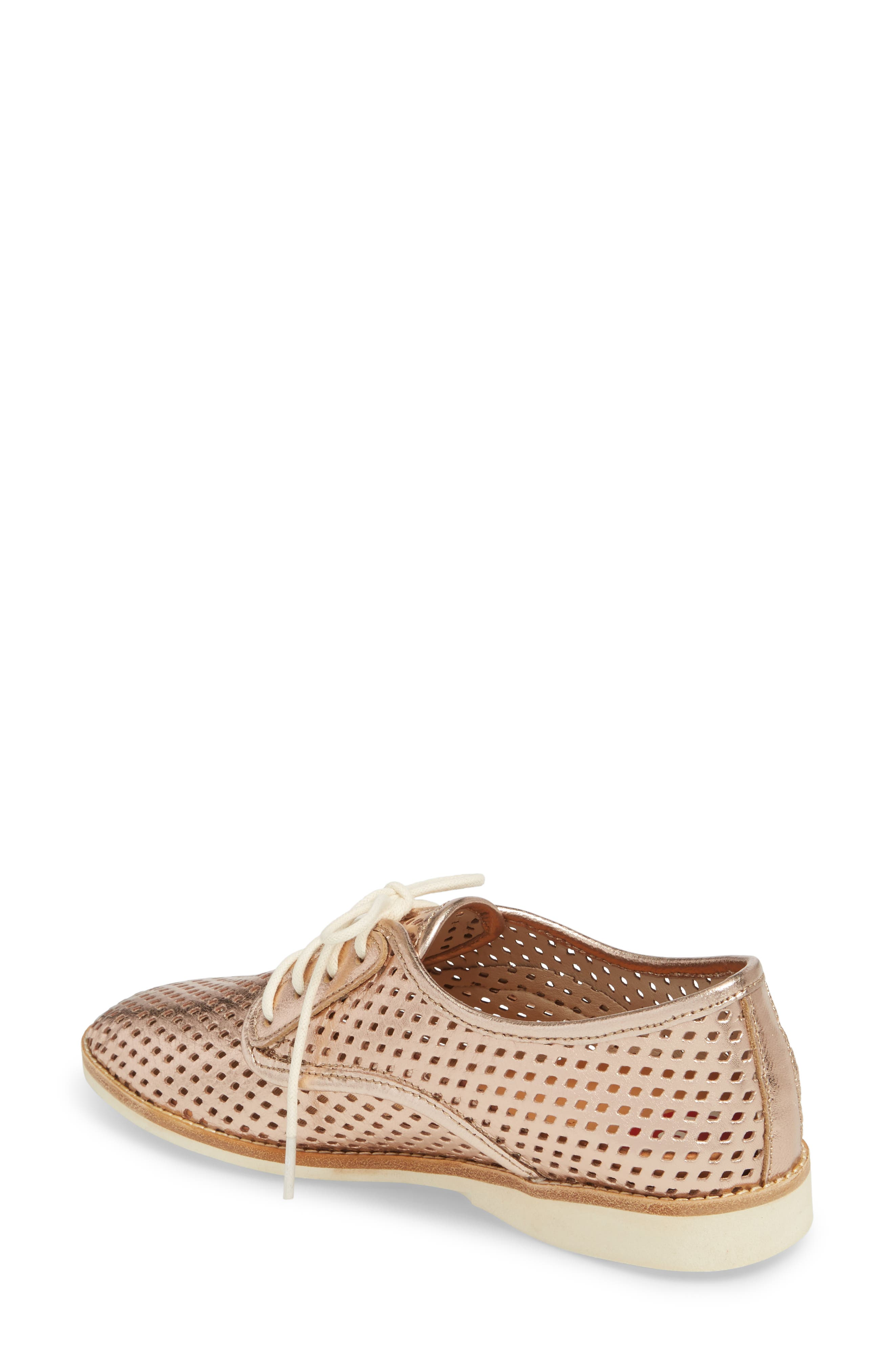 Punch Perforated Derby,                             Alternate thumbnail 2, color,                             Rose Gold Leather