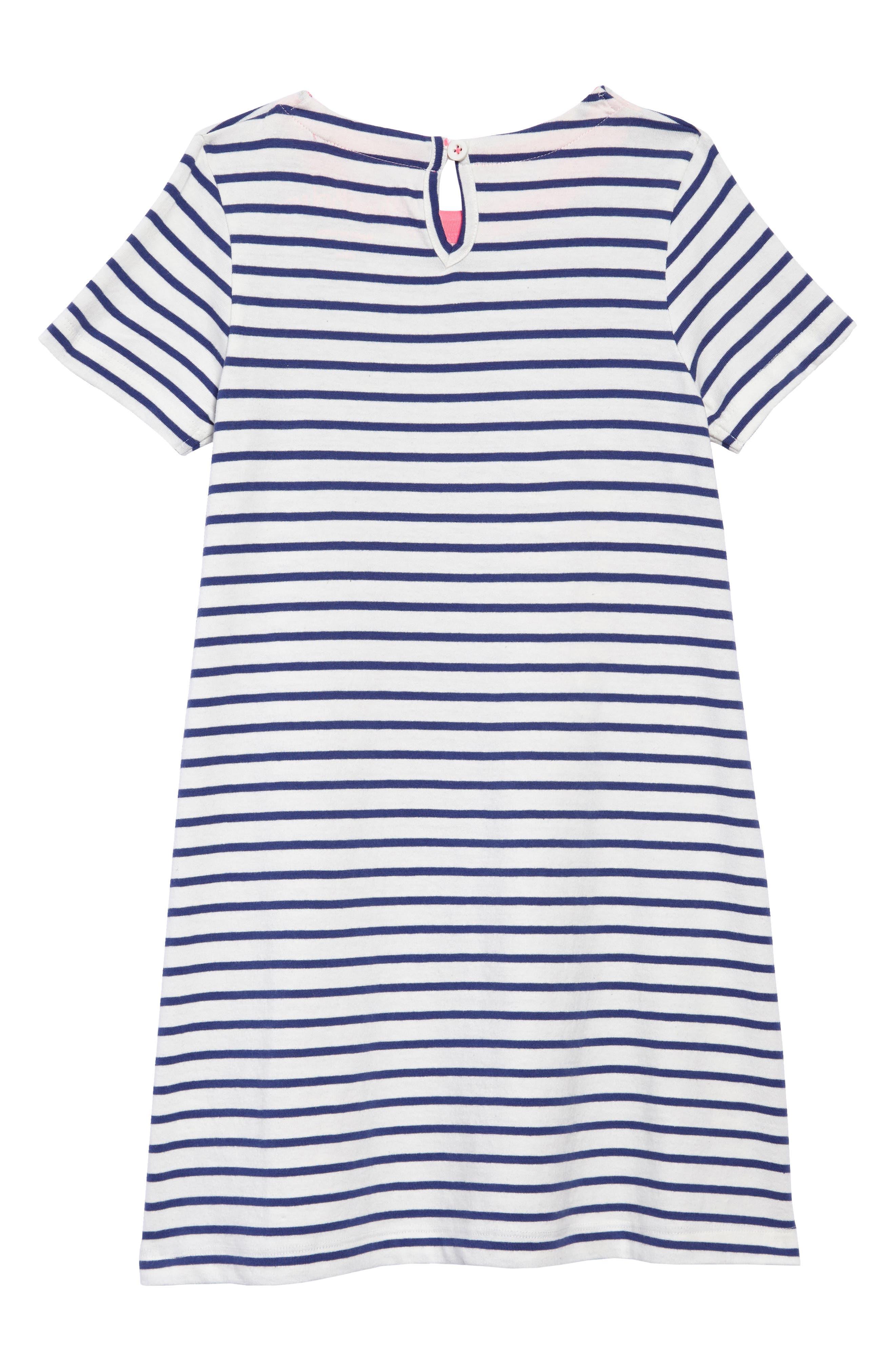 Rainbow Appliqué T-Shirt Dress,                             Alternate thumbnail 2, color,                             Ivory/ Starboard Blue Rainbow
