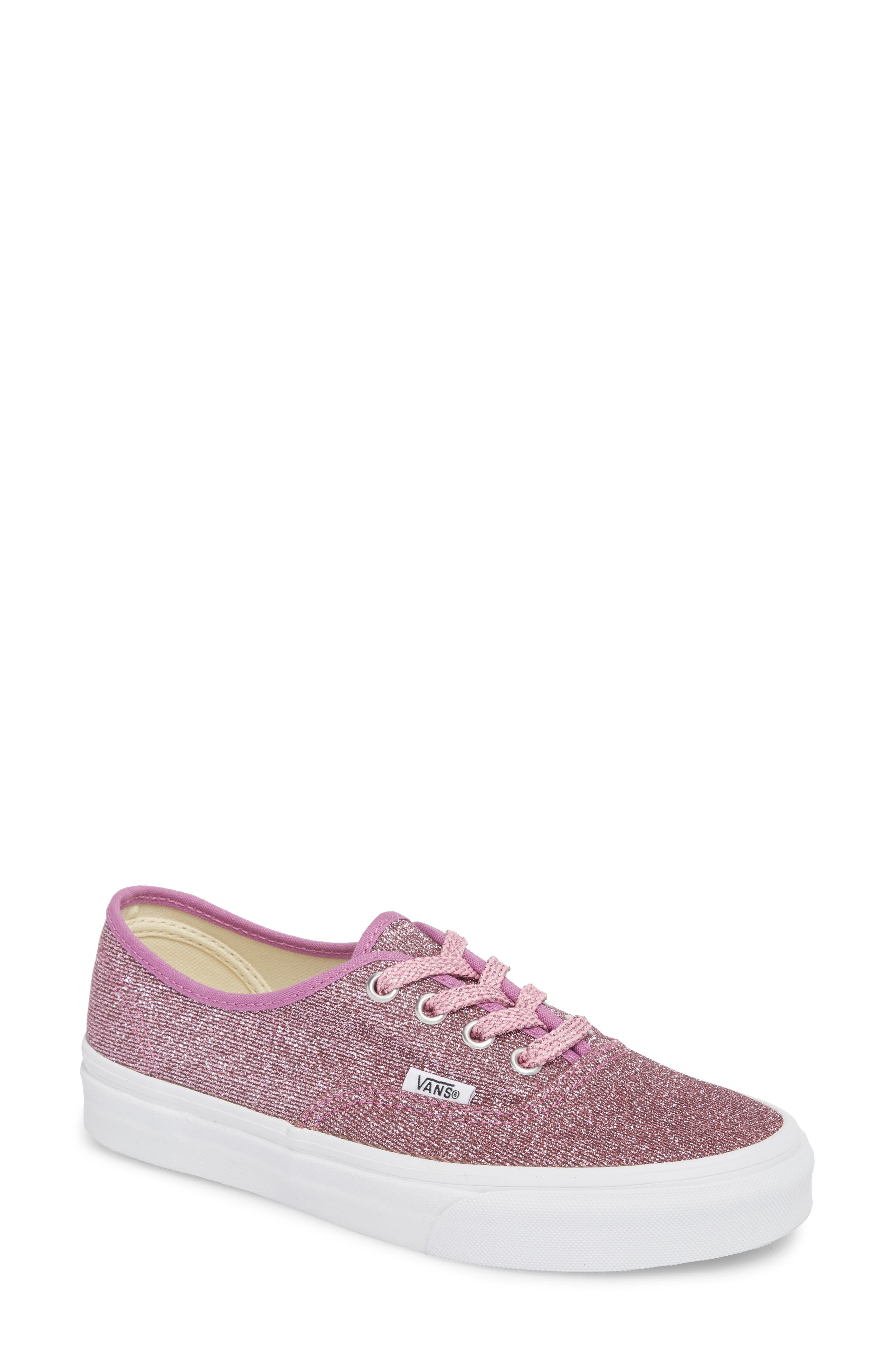 UA Authentic Lurex Sneaker,                             Main thumbnail 1, color,                             Pink/ True White Glitter