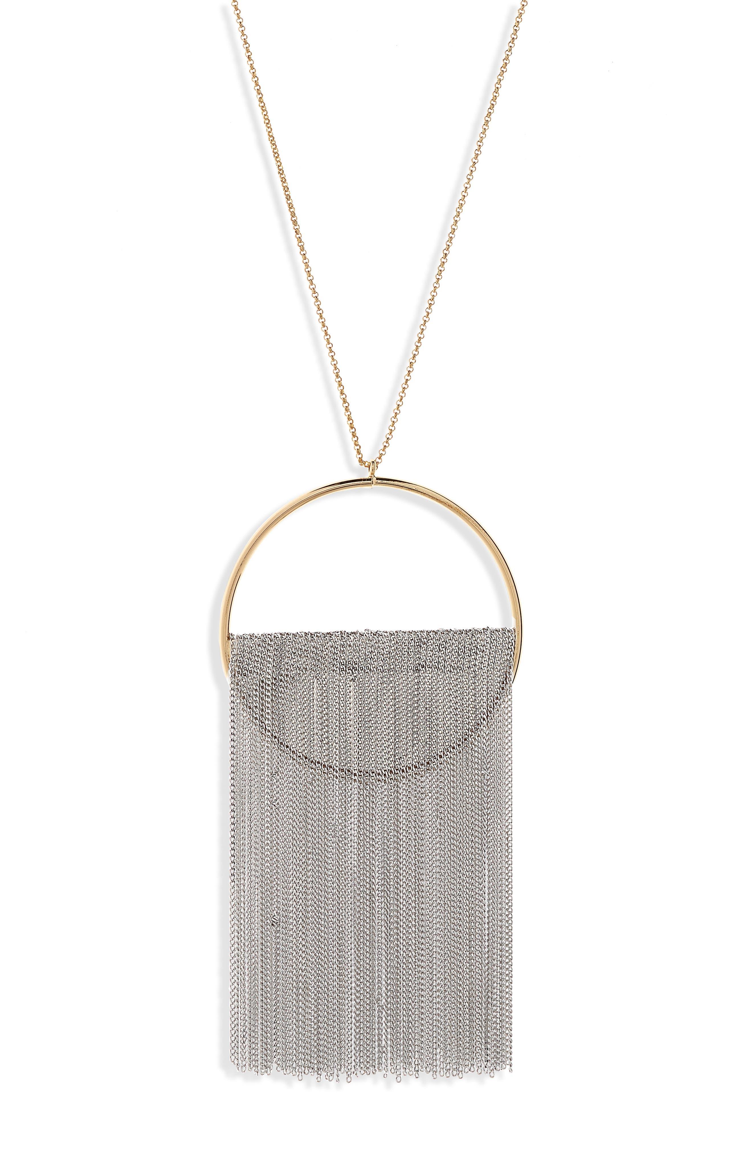 Fringe Pendant Necklace,                             Alternate thumbnail 2, color,                             Gold