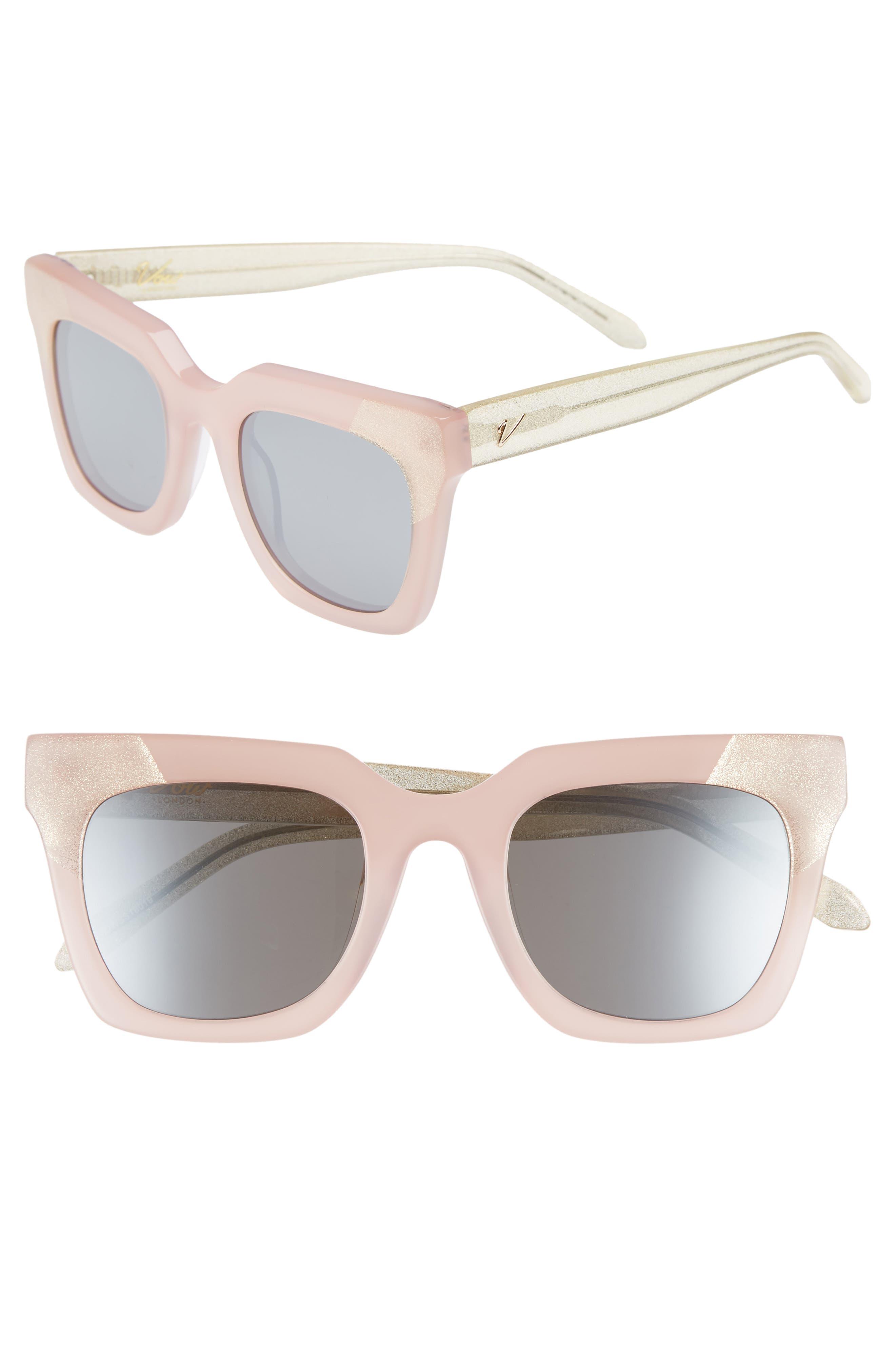 Riley 50mm Cat Eye Sunglasses,                             Main thumbnail 1, color,                             Milky Pink/ Smoke