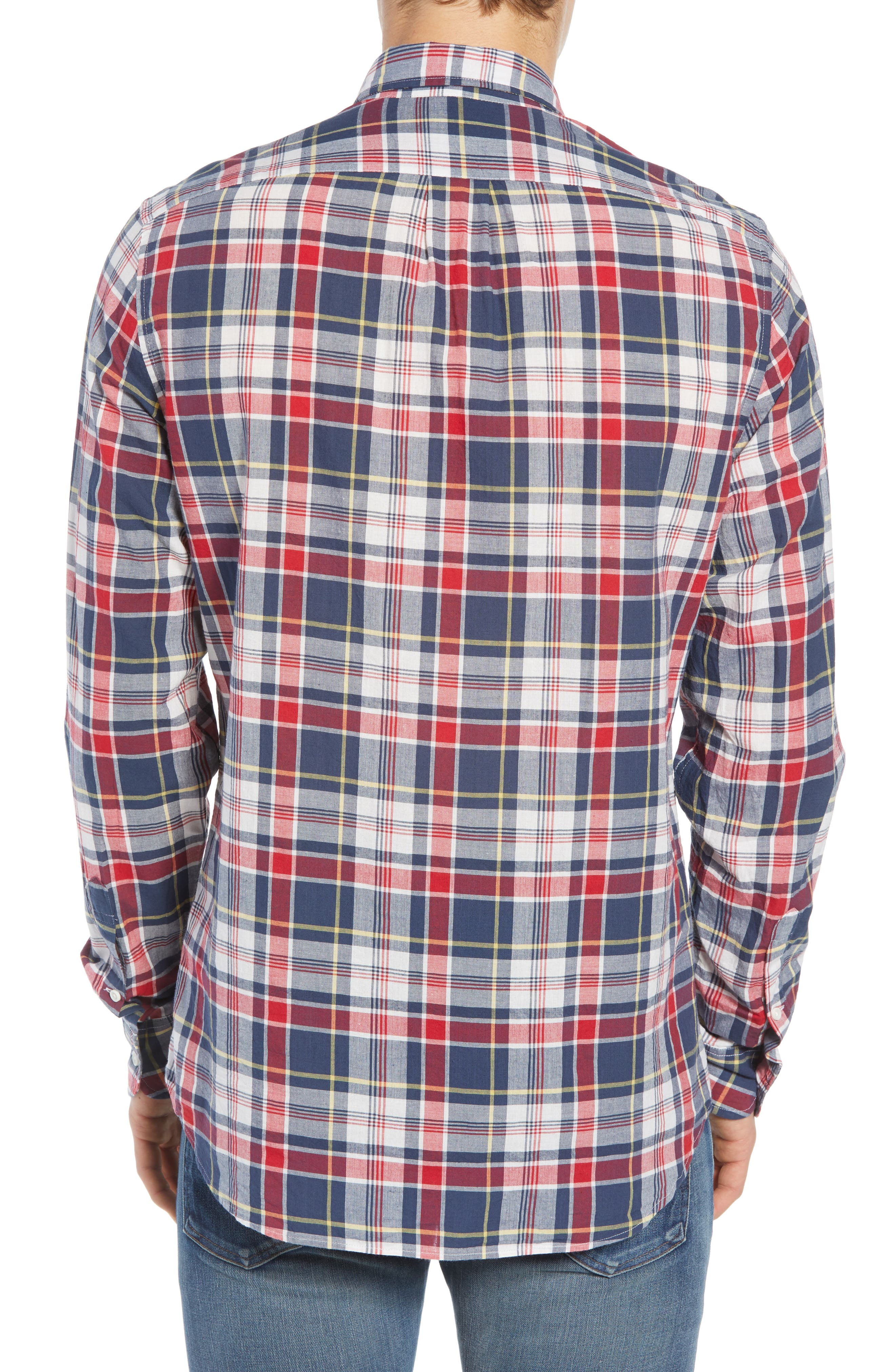 Regular Fit Madras Plaid Sport Shirt,                             Alternate thumbnail 3, color,                             Navy Ink
