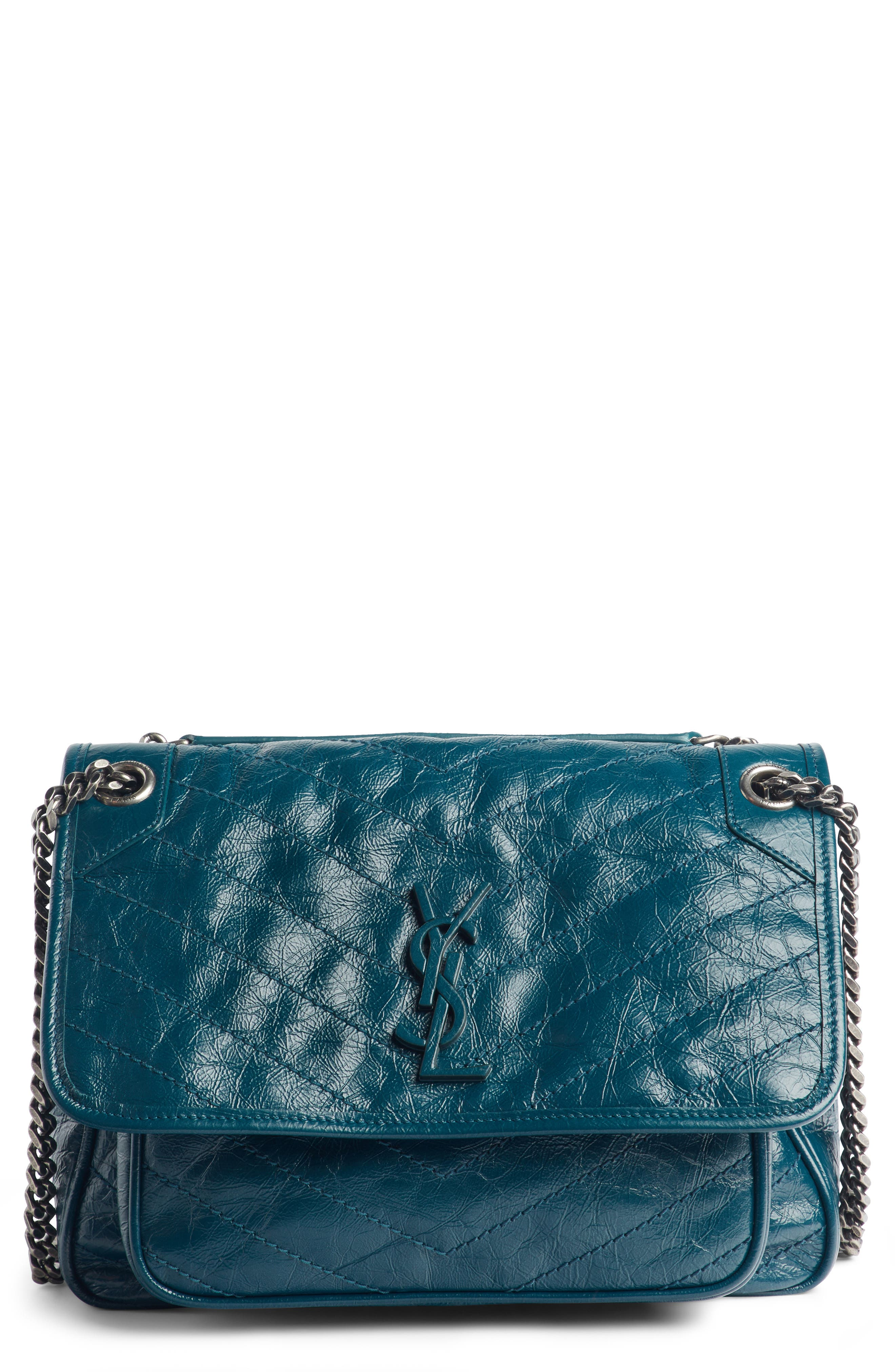 Medium Niki Leather Shoulder Bag,                             Main thumbnail 1, color,                             Dark Turquoise