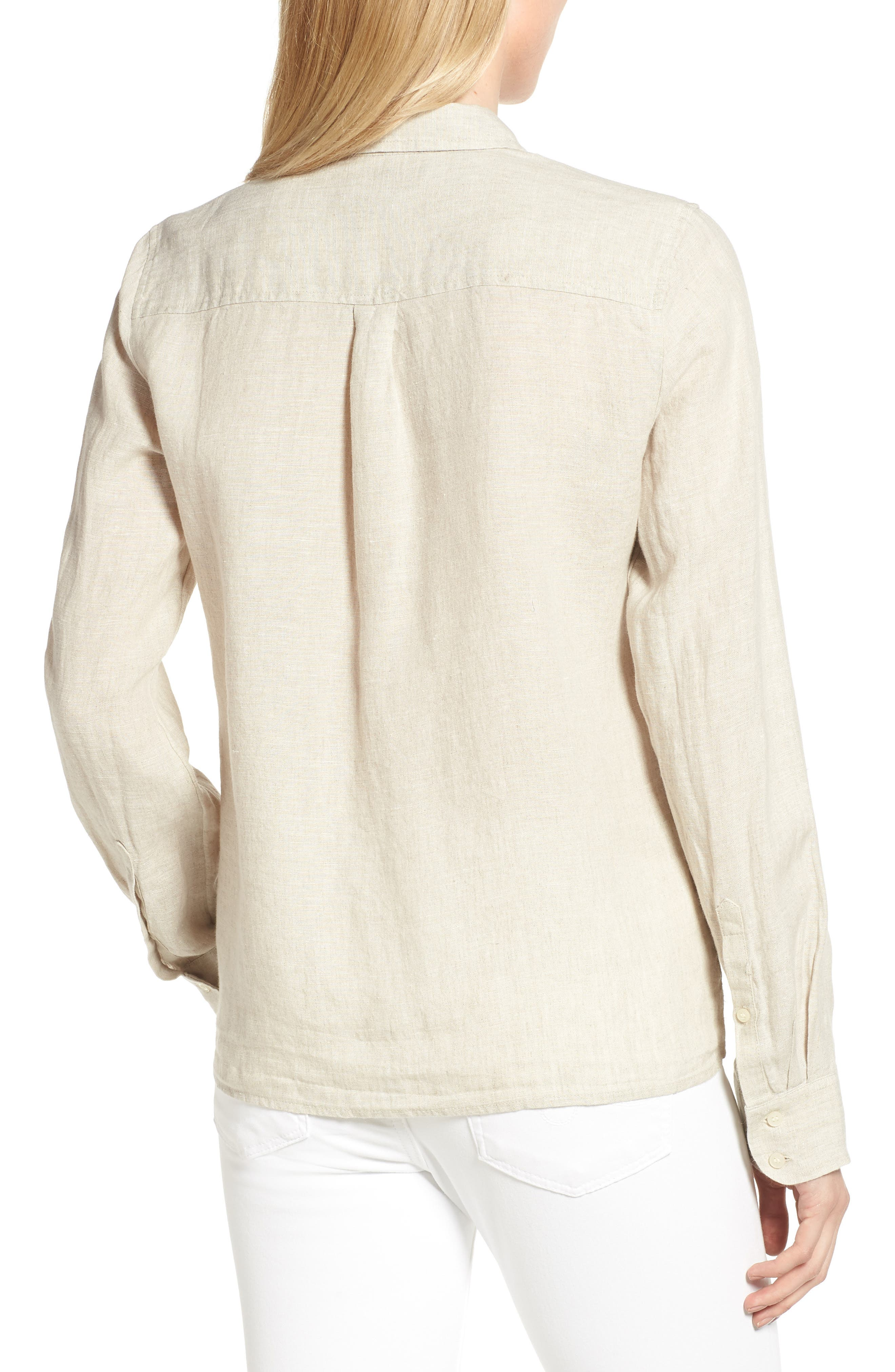 Tie Front Linen Shirt,                             Alternate thumbnail 2, color,                             Flax