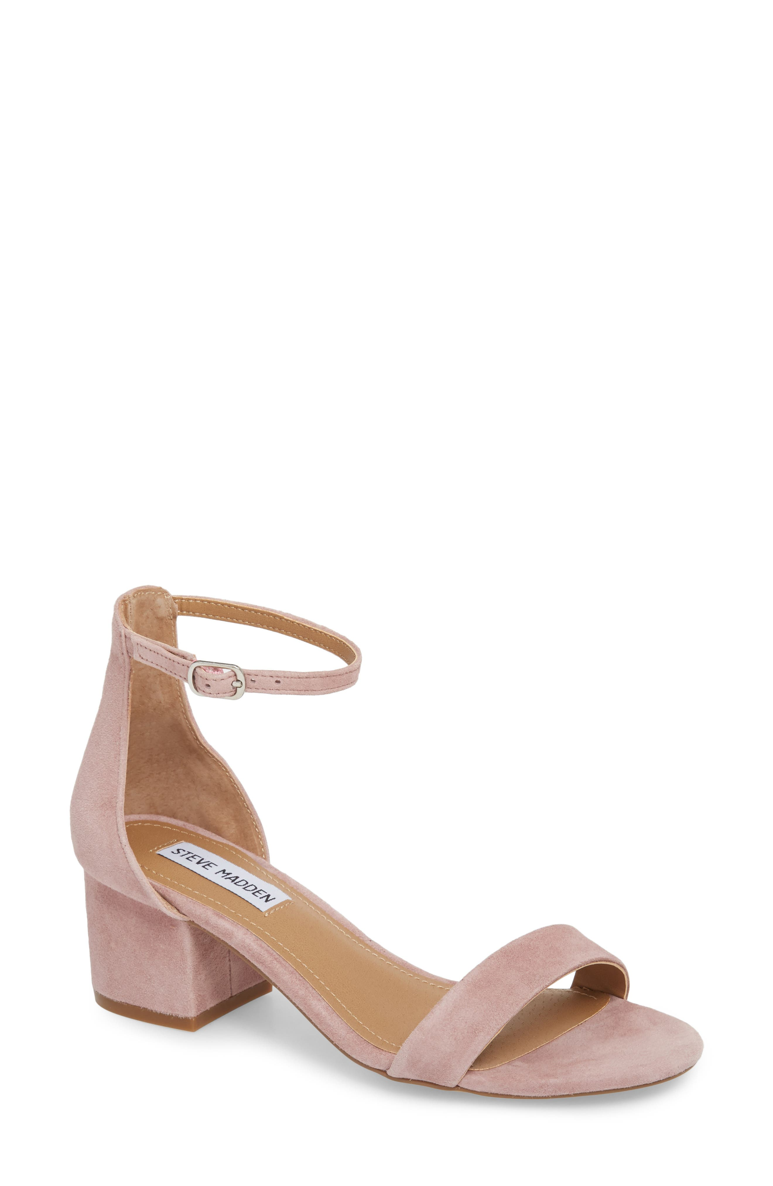 Irenee Ankle Strap Sandal,                         Main,                         color, Mauve Suede