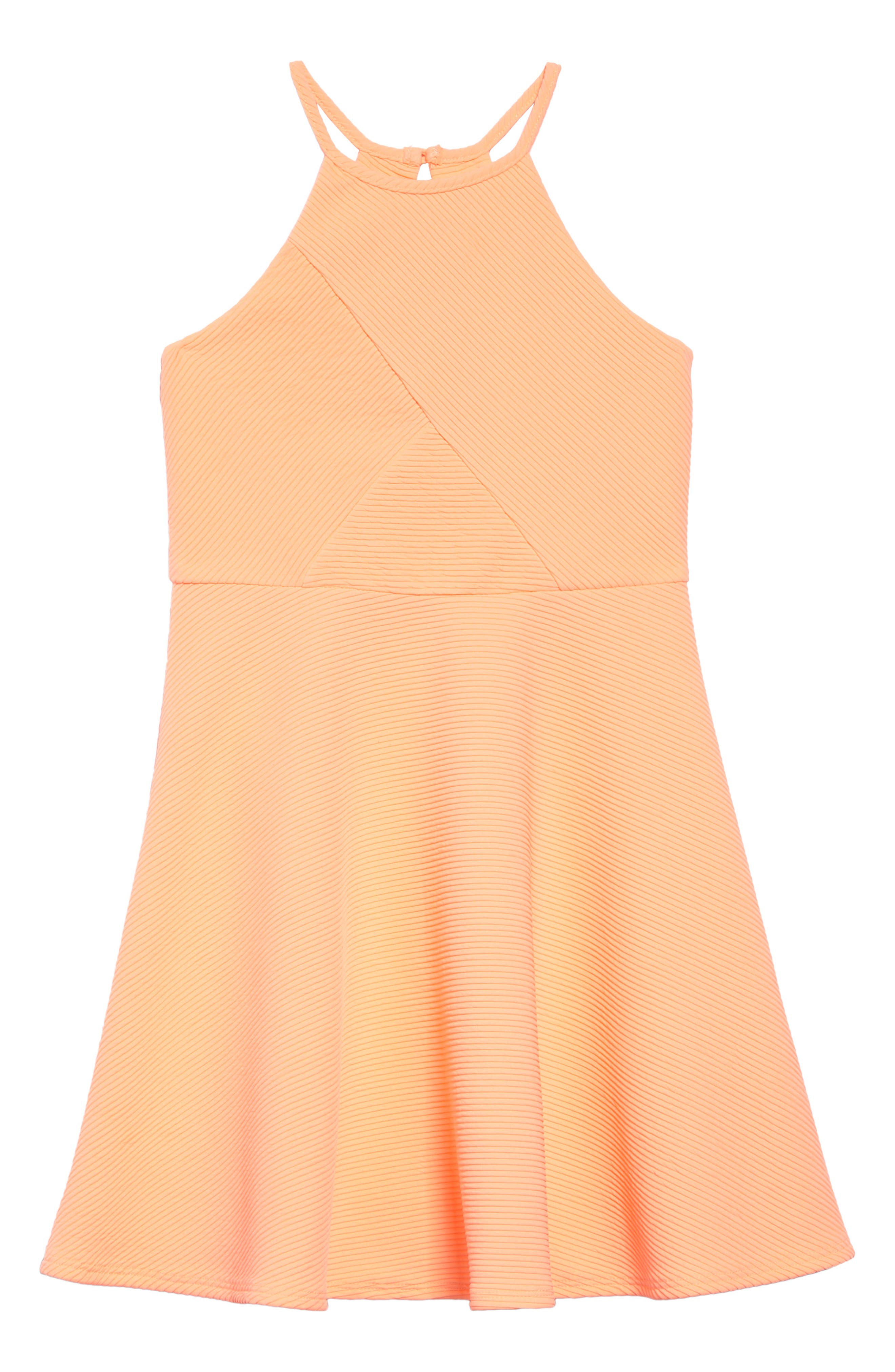 Textured Skater Dress,                             Main thumbnail 1, color,                             Neoncoral