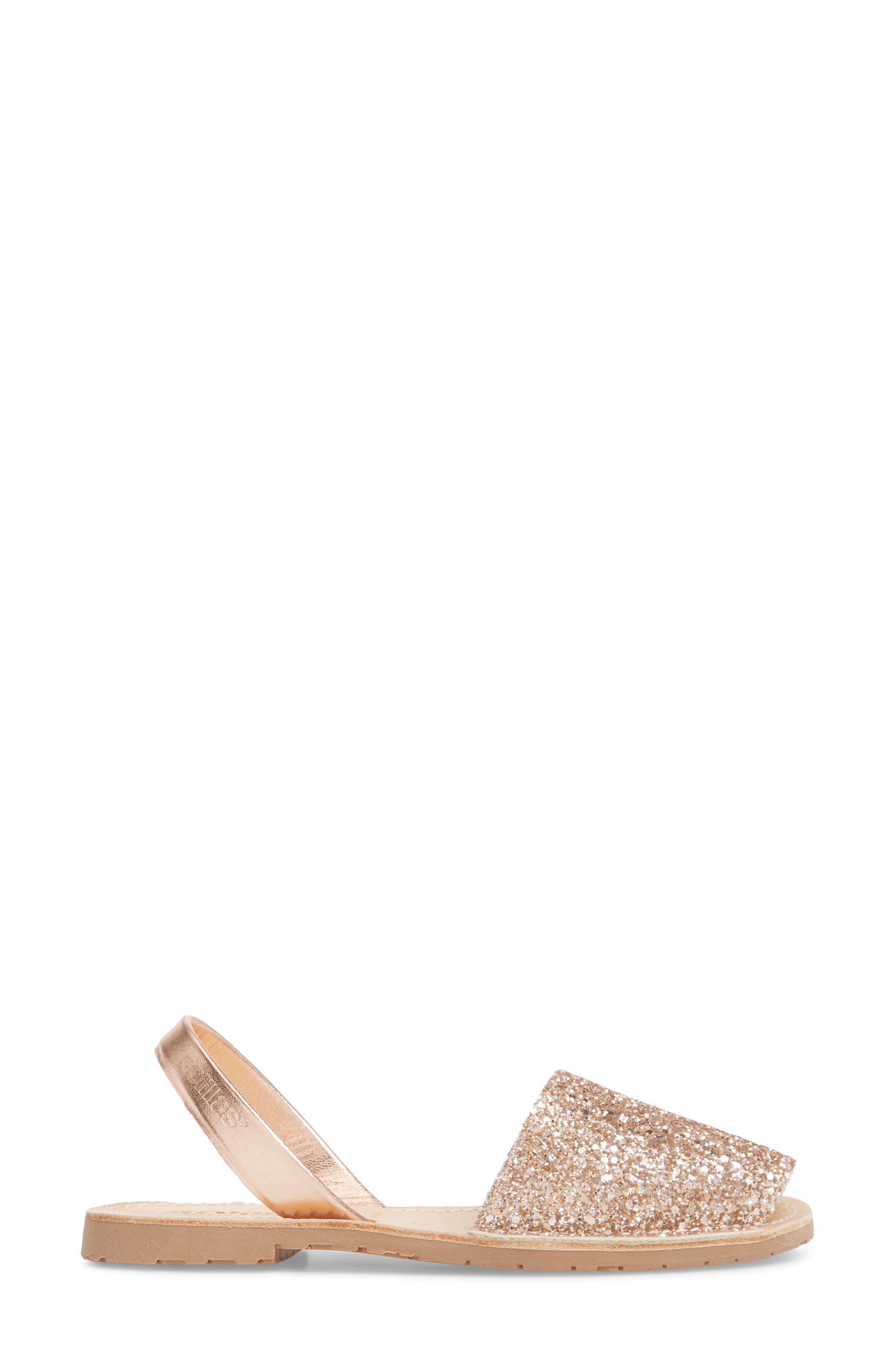 Flat Sandal,                             Alternate thumbnail 3, color,                             Rose Gold Leather