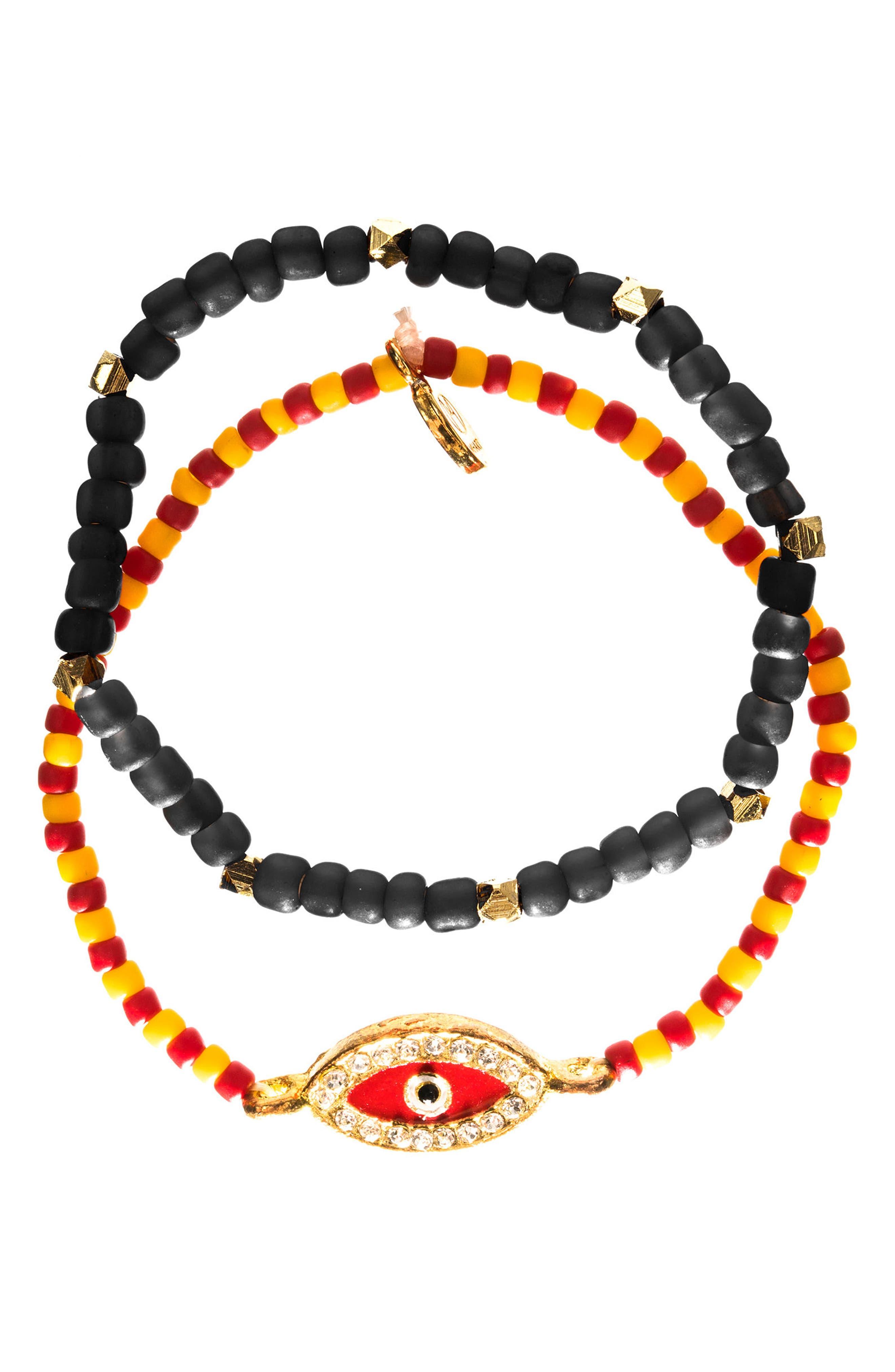 Evil Eye Set of 2 Beaded Stretch Bracelets,                             Main thumbnail 1, color,                             Red