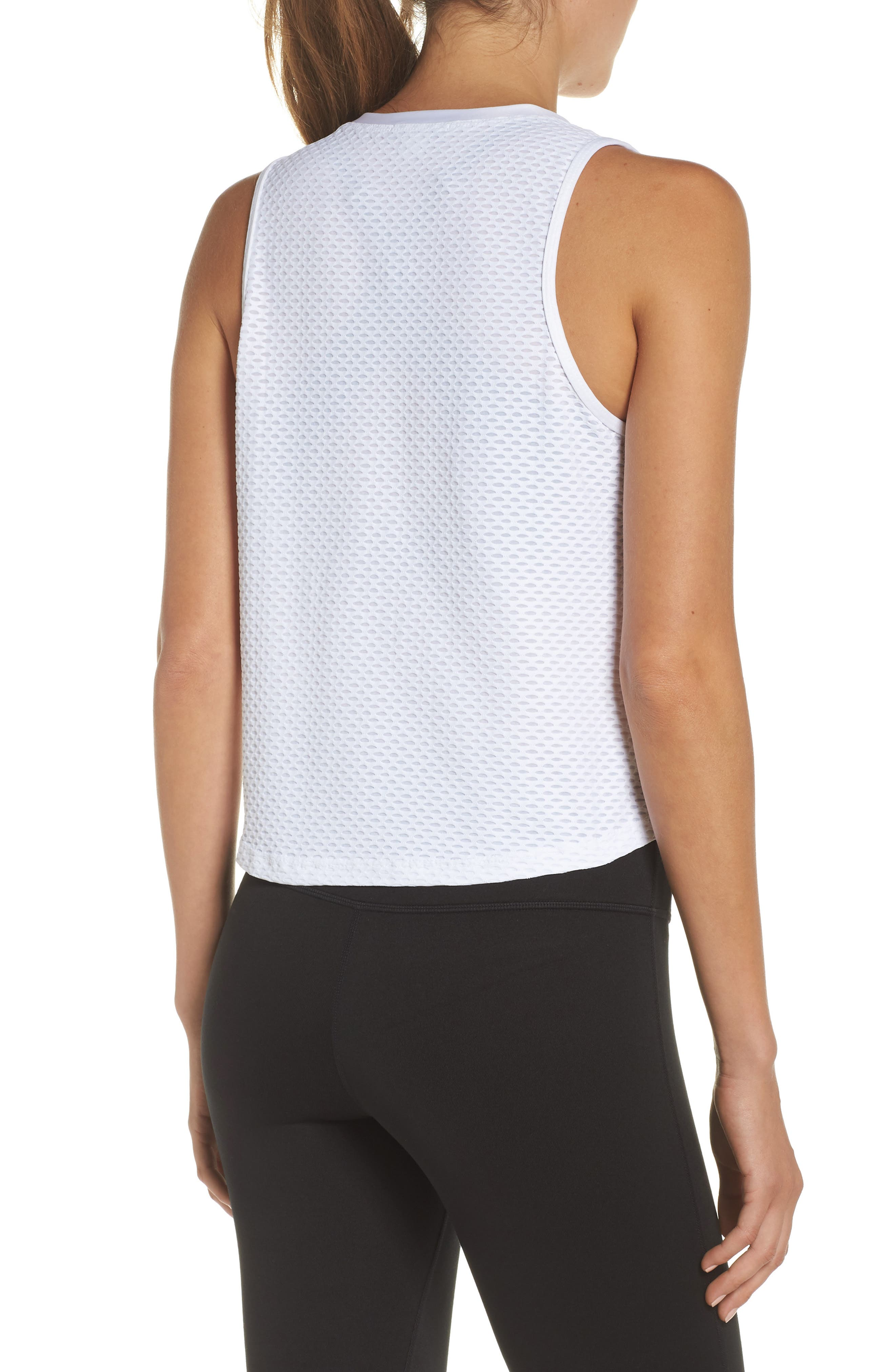 Crop Muscle Tee,                             Alternate thumbnail 2, color,                             White