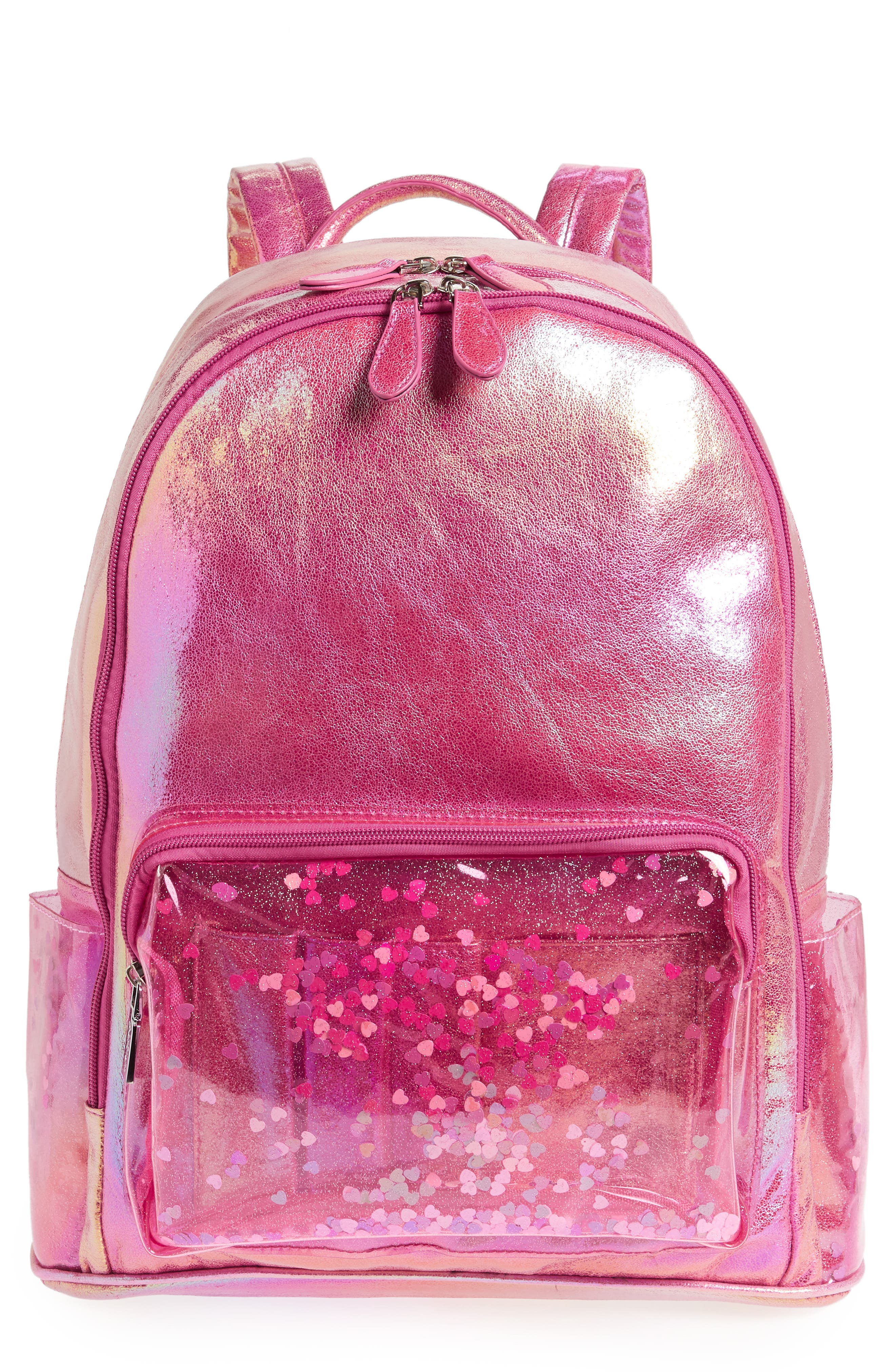 Heart Confetti Holographic Backpack,                             Main thumbnail 1, color,                             Pink