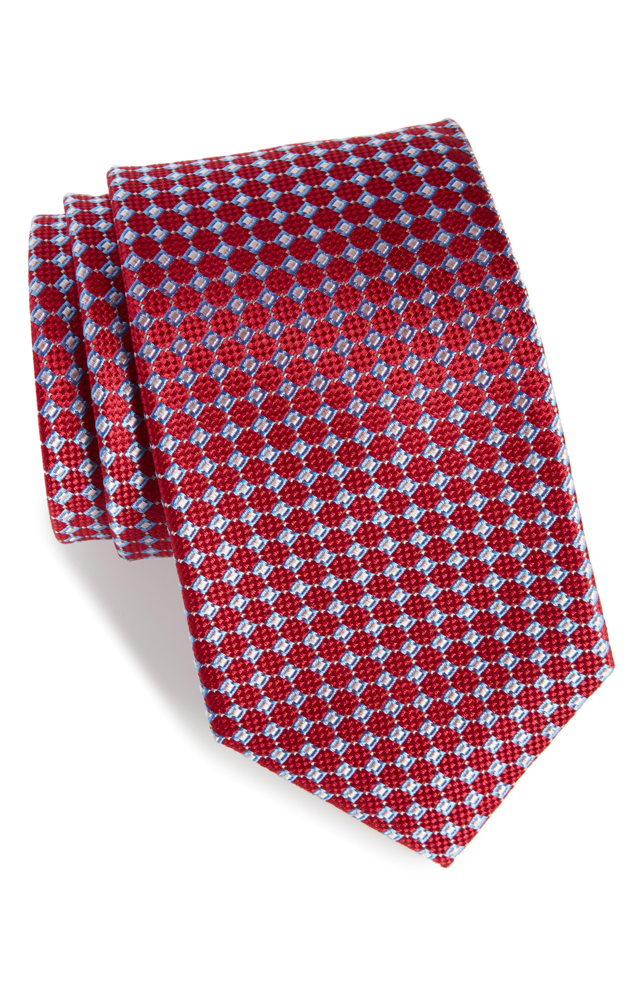 Kitson Geometric Silk Tie,                             Main thumbnail 1, color,                             Red