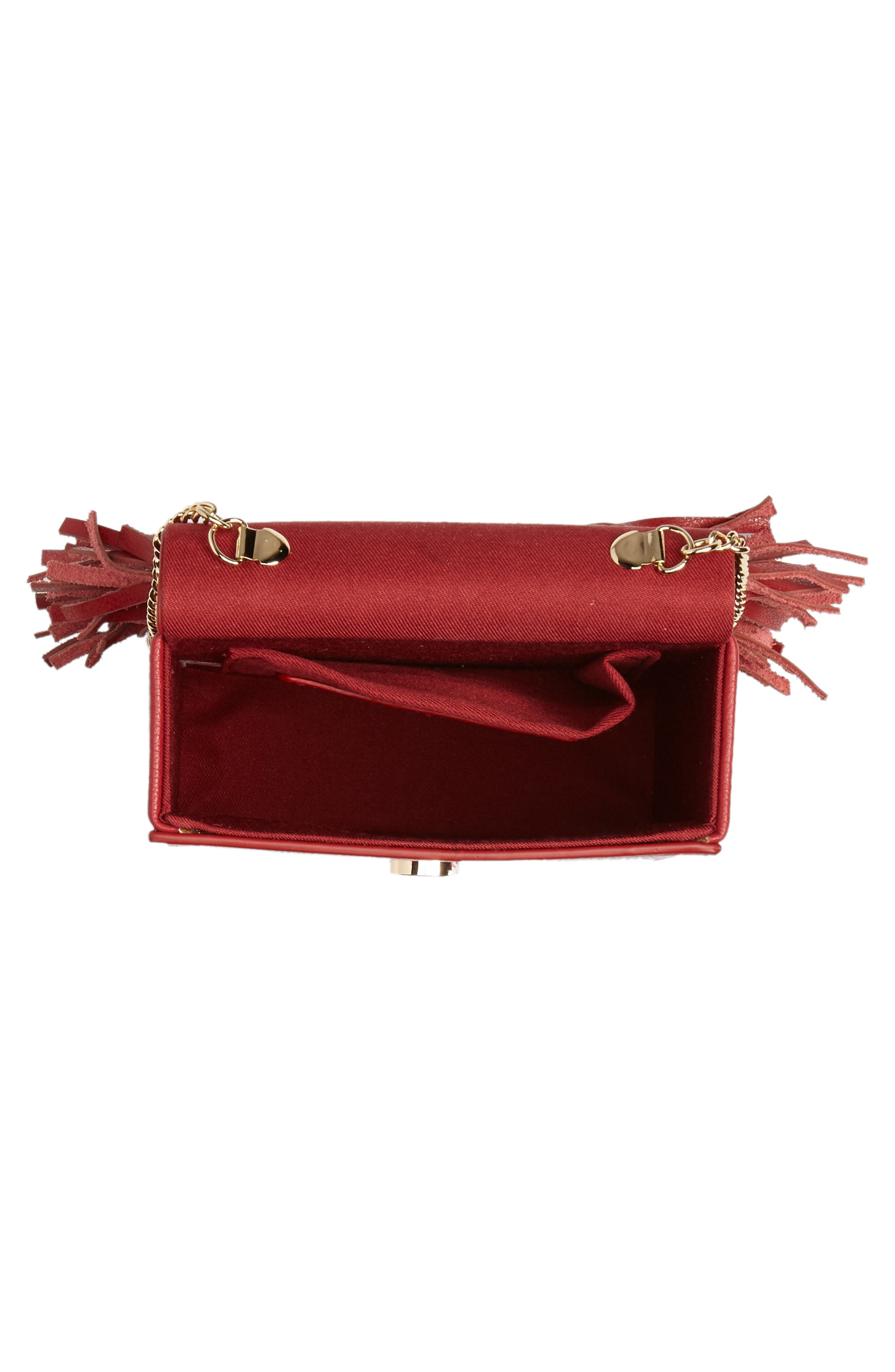 Alivia Leather Clutch,                             Alternate thumbnail 6, color,                             Red