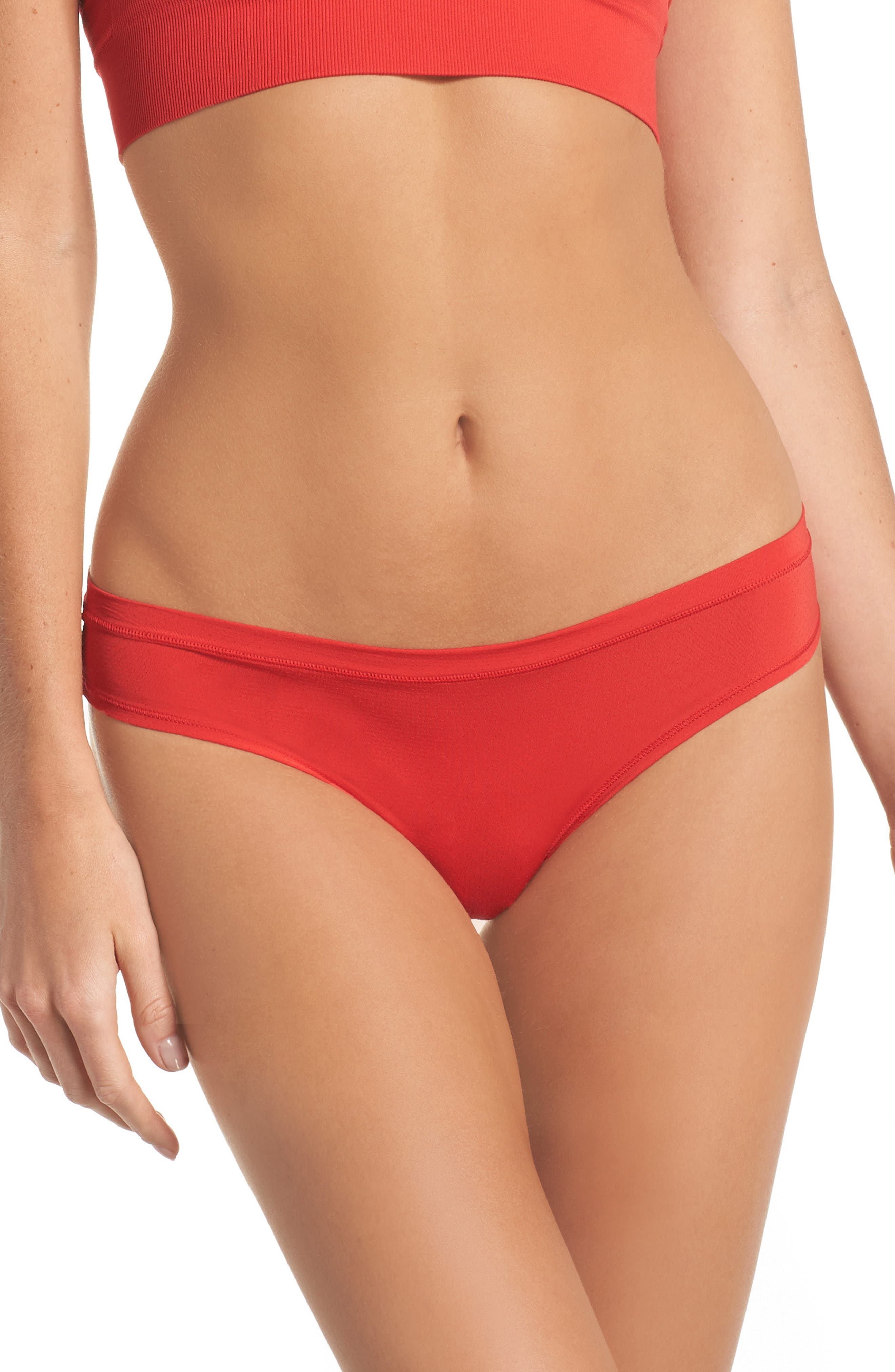 Perforated Active Thong,                         Main,                         color, Red Chinoise