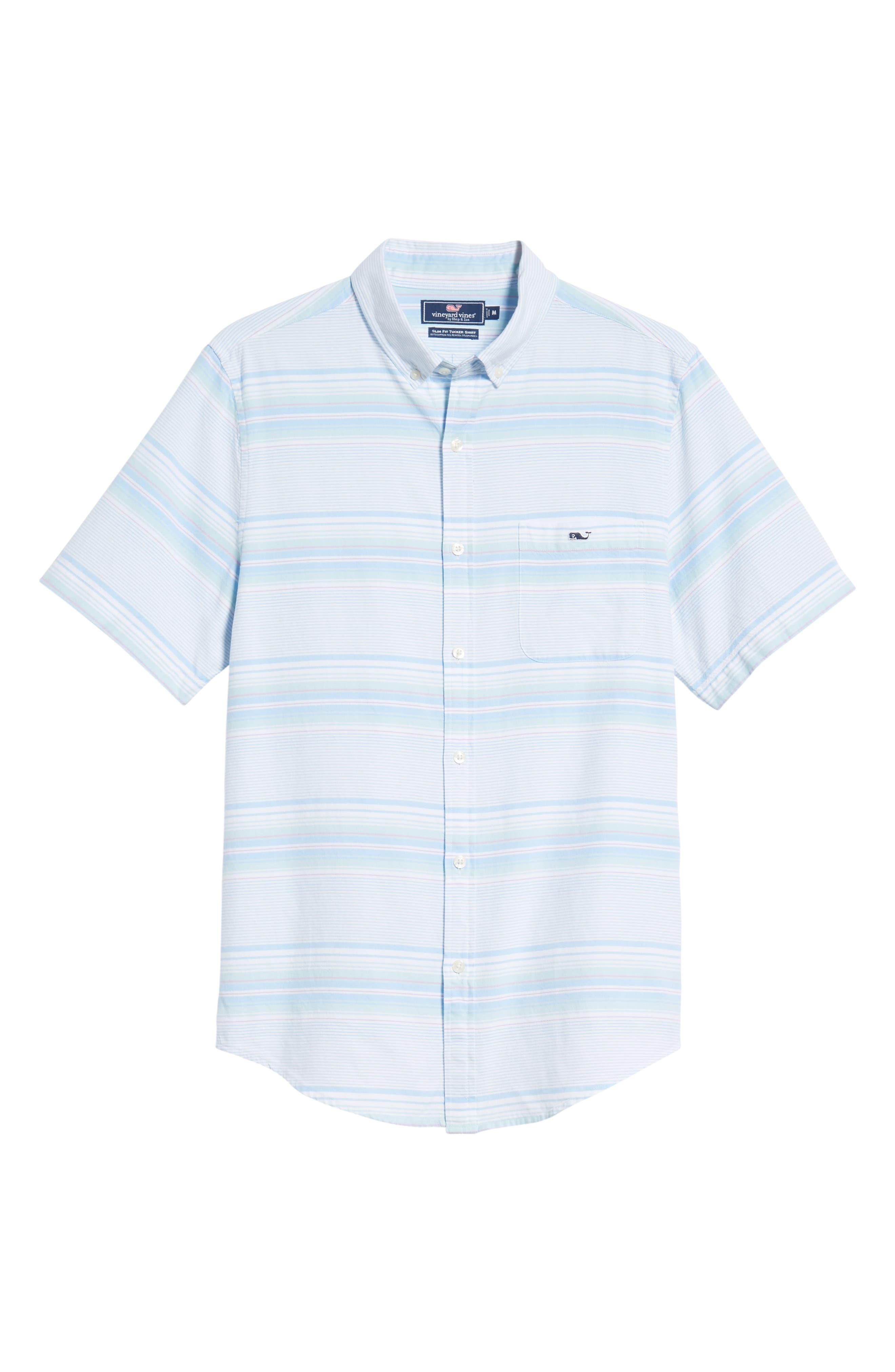 Sand Piper Tucker Regular Fit Stripe Oxford Sport Shirt,                             Alternate thumbnail 5, color,                             Pool Side