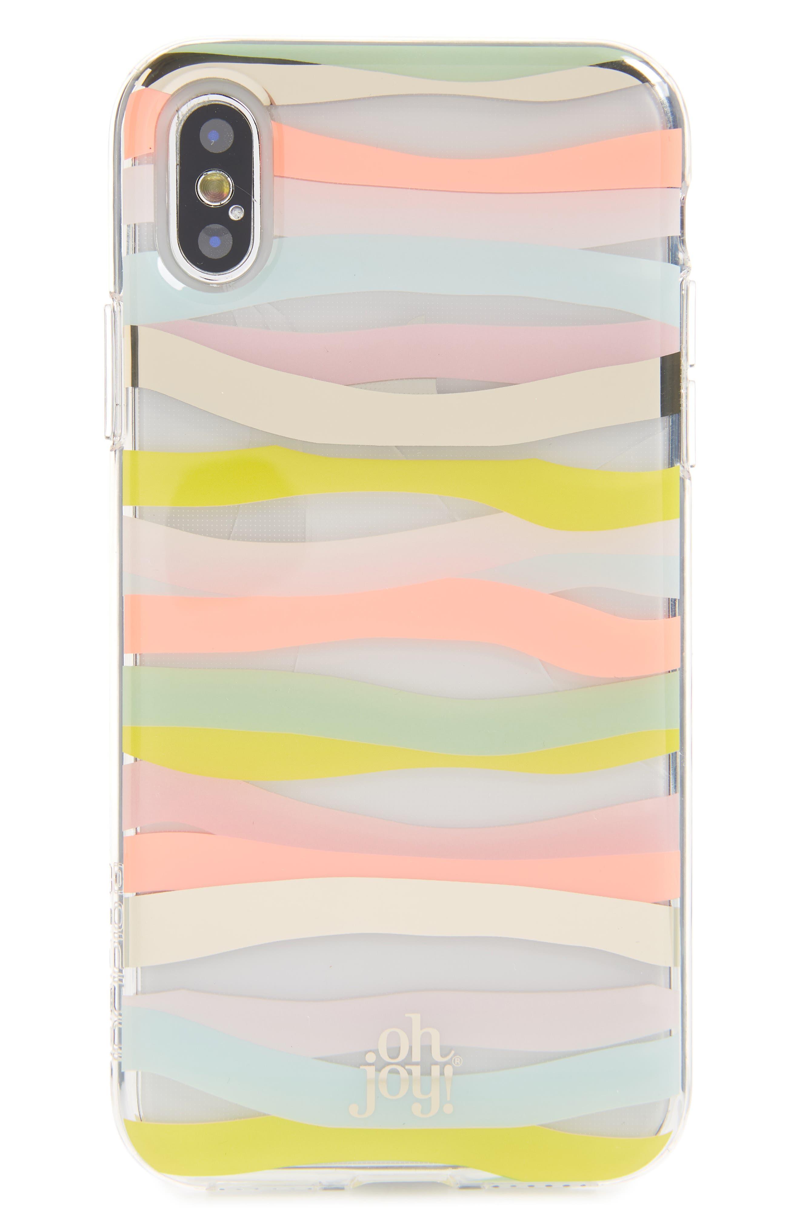 Oh Joy Stripe iPhone X Plus Case,                             Main thumbnail 1, color,                             Pink Multi