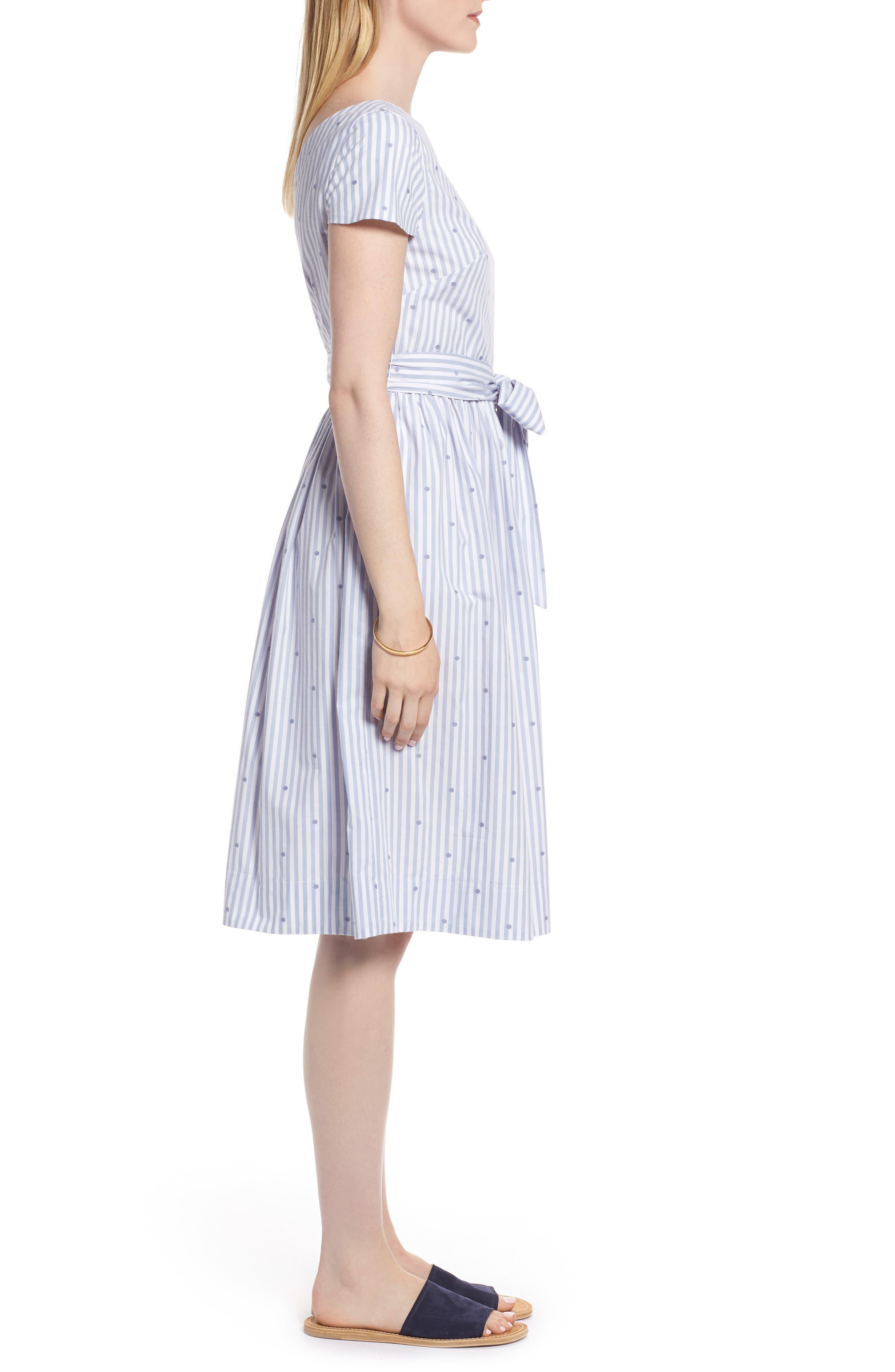 Stripe & Dot Cotton Dress,                             Alternate thumbnail 3, color,                             Eve Dot Stripe