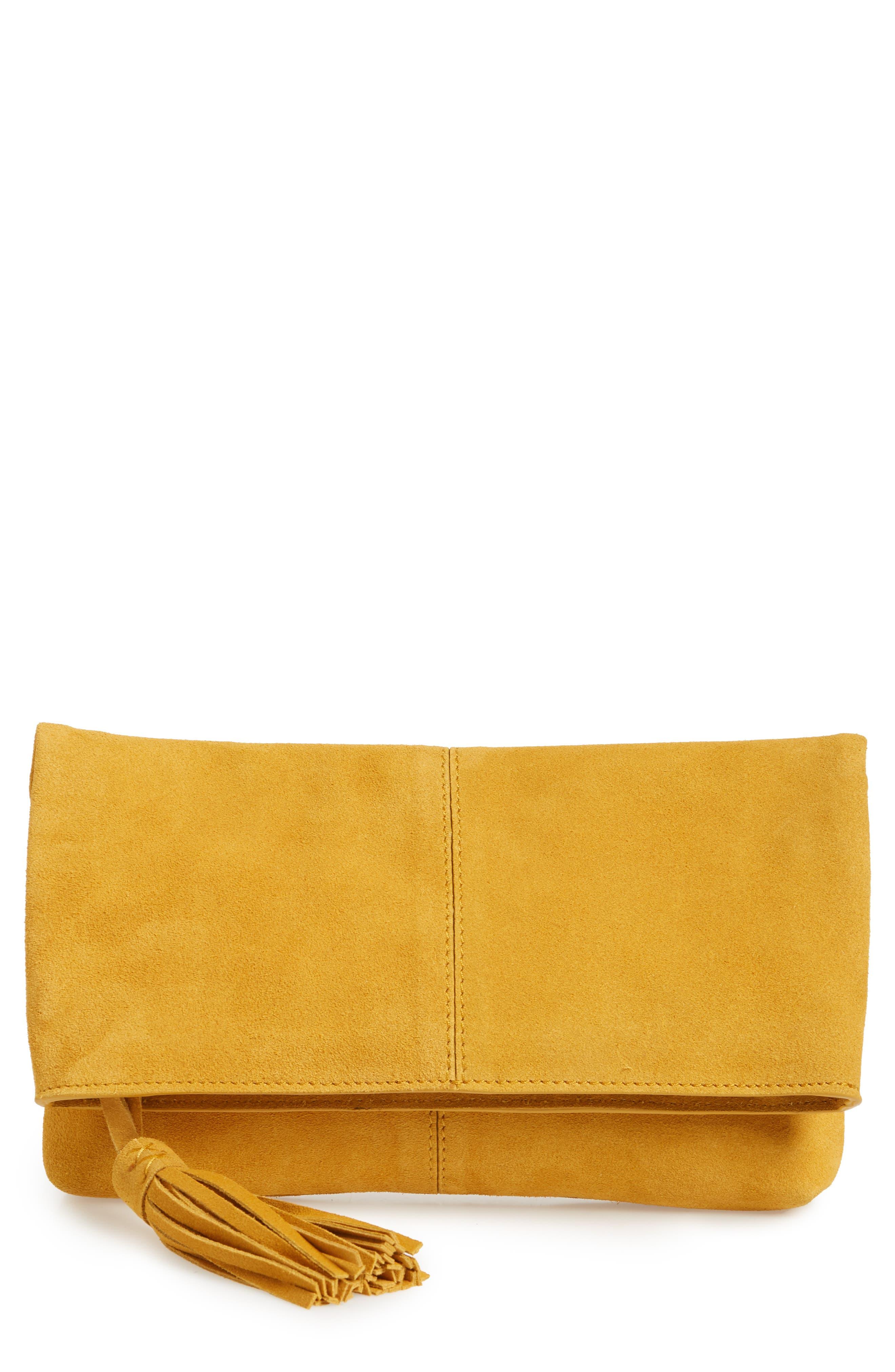 Suede Clutch,                         Main,                         color, Mustard