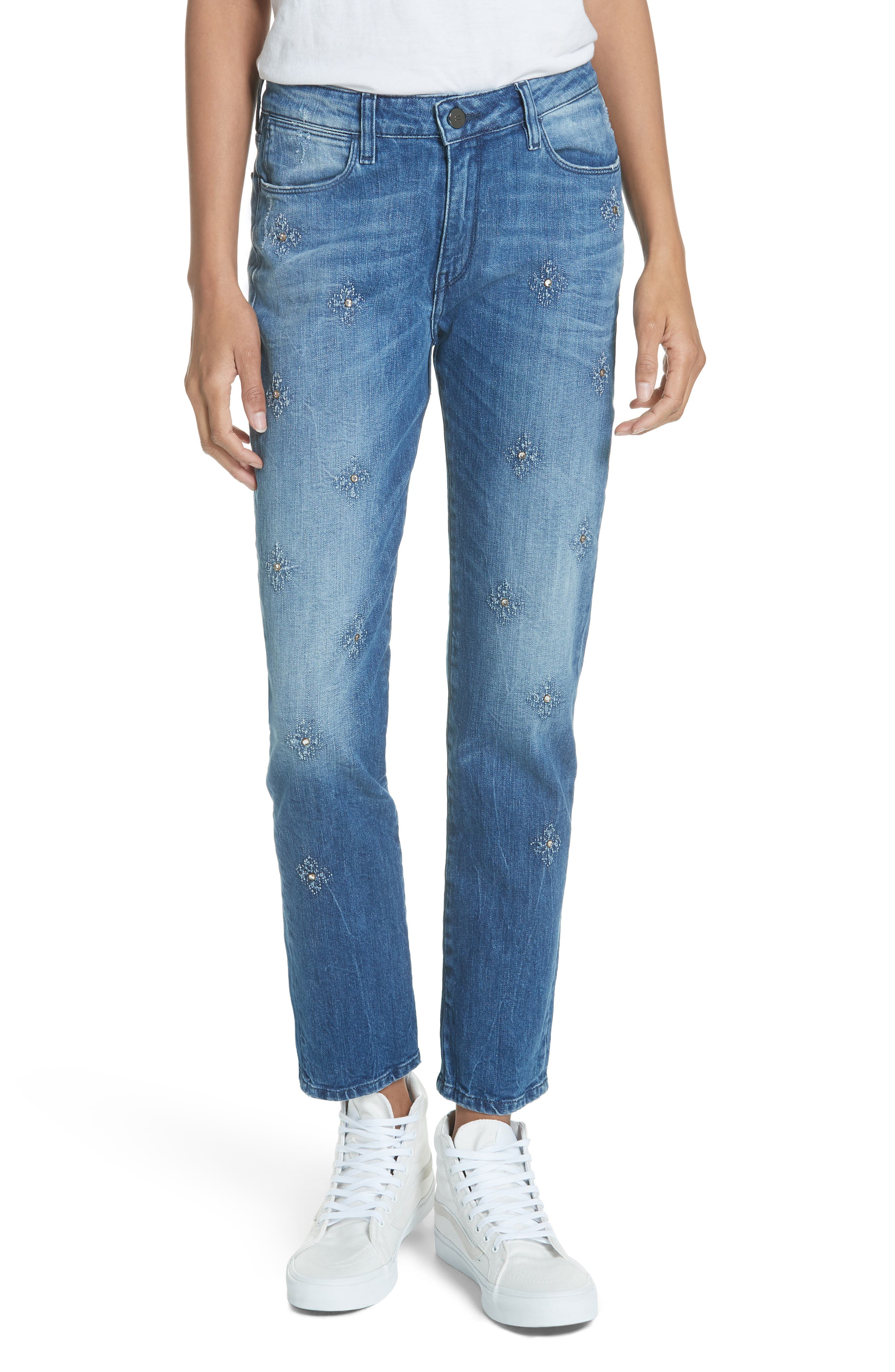 BROCKENBOW Orphee Jeweled Slim Straight Jeans in Tokyo Blue