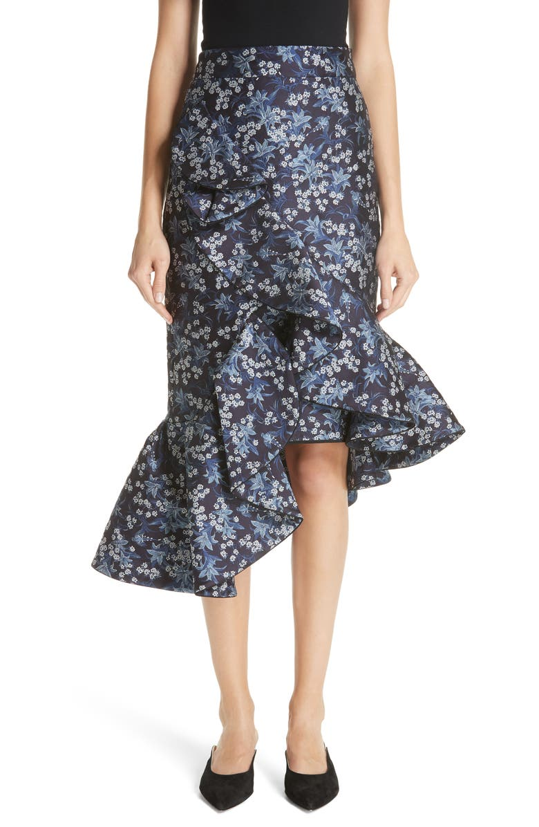 Belladonna Floral Jacquard Ruffle Skirt