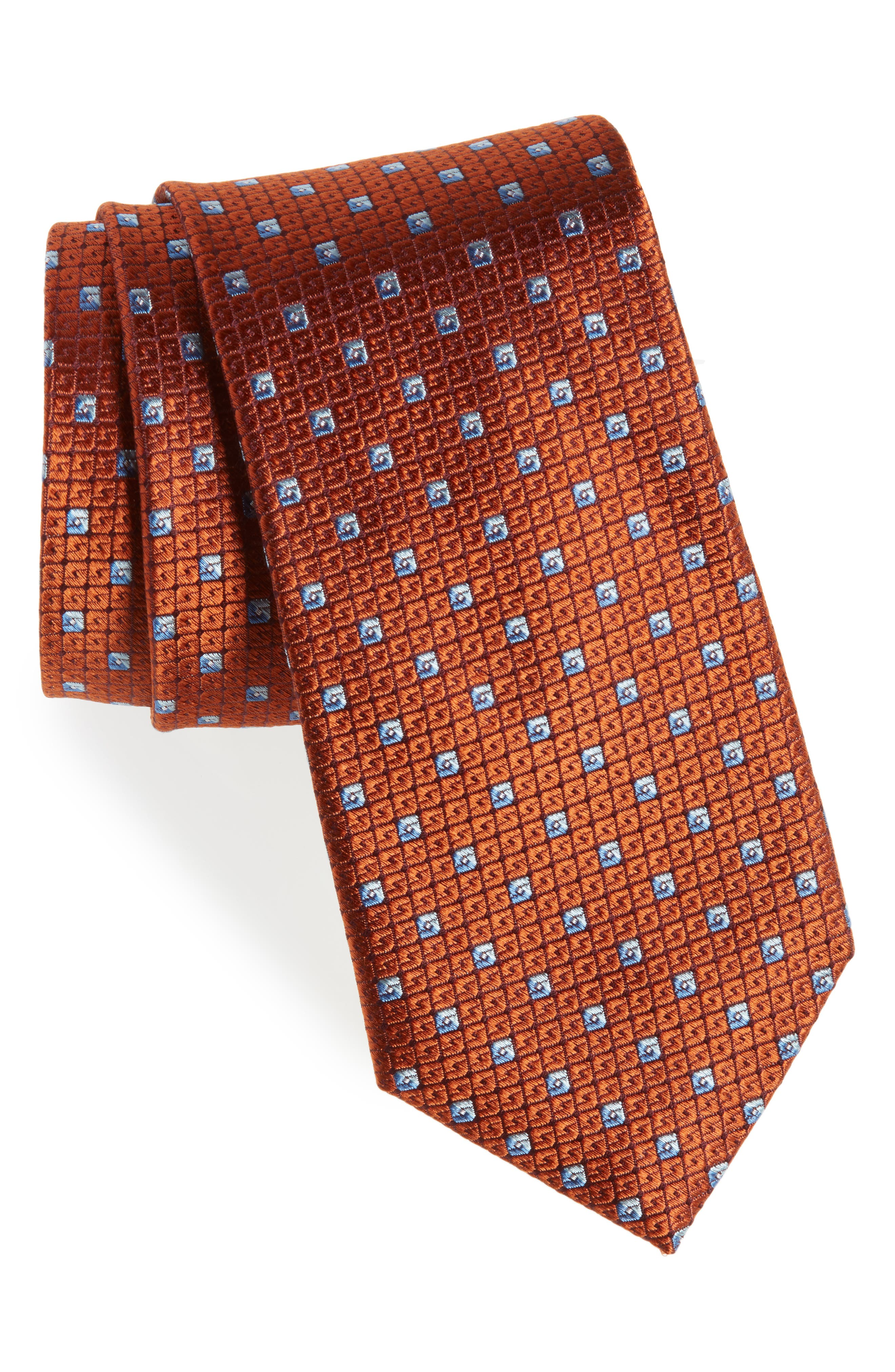 Mauro Neat Silk Tie,                         Main,                         color, Orange