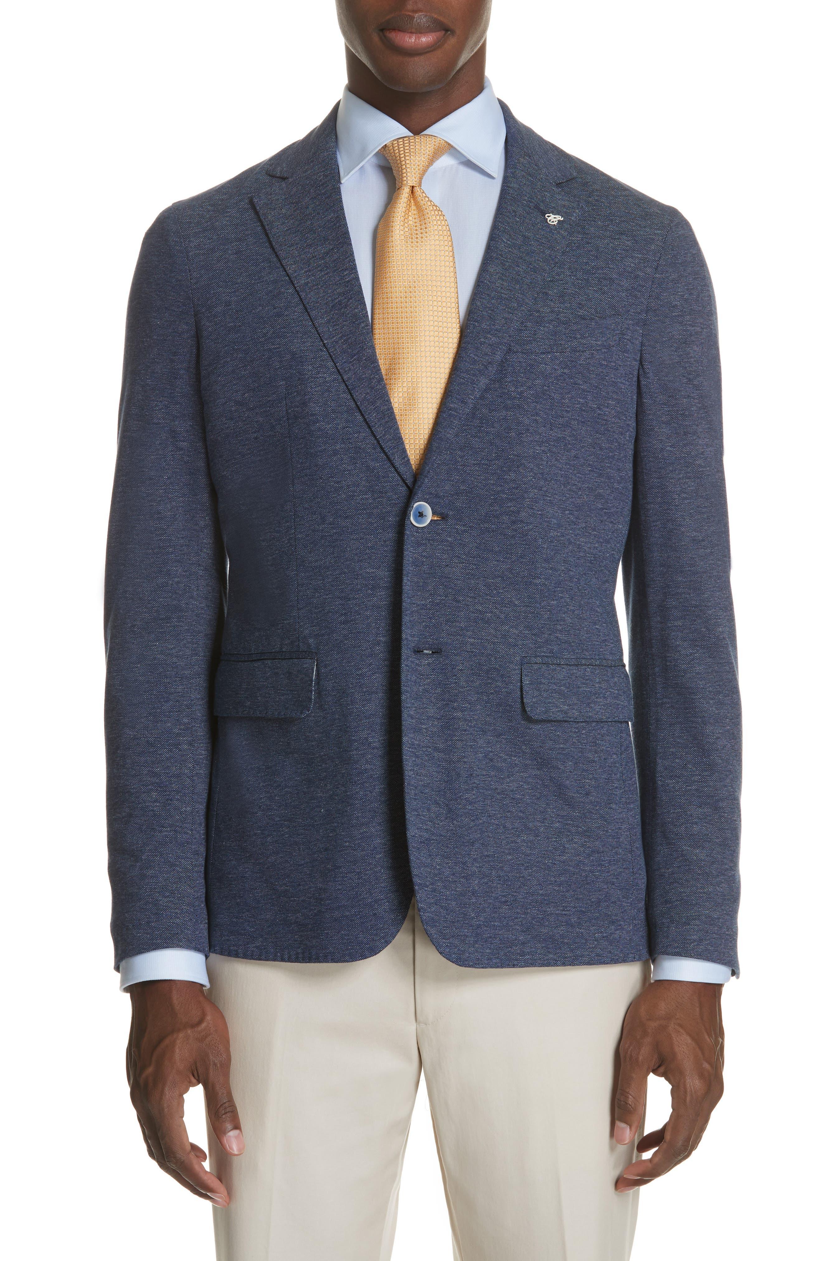 Slim Fit Cotton Blazer,                         Main,                         color, Blue