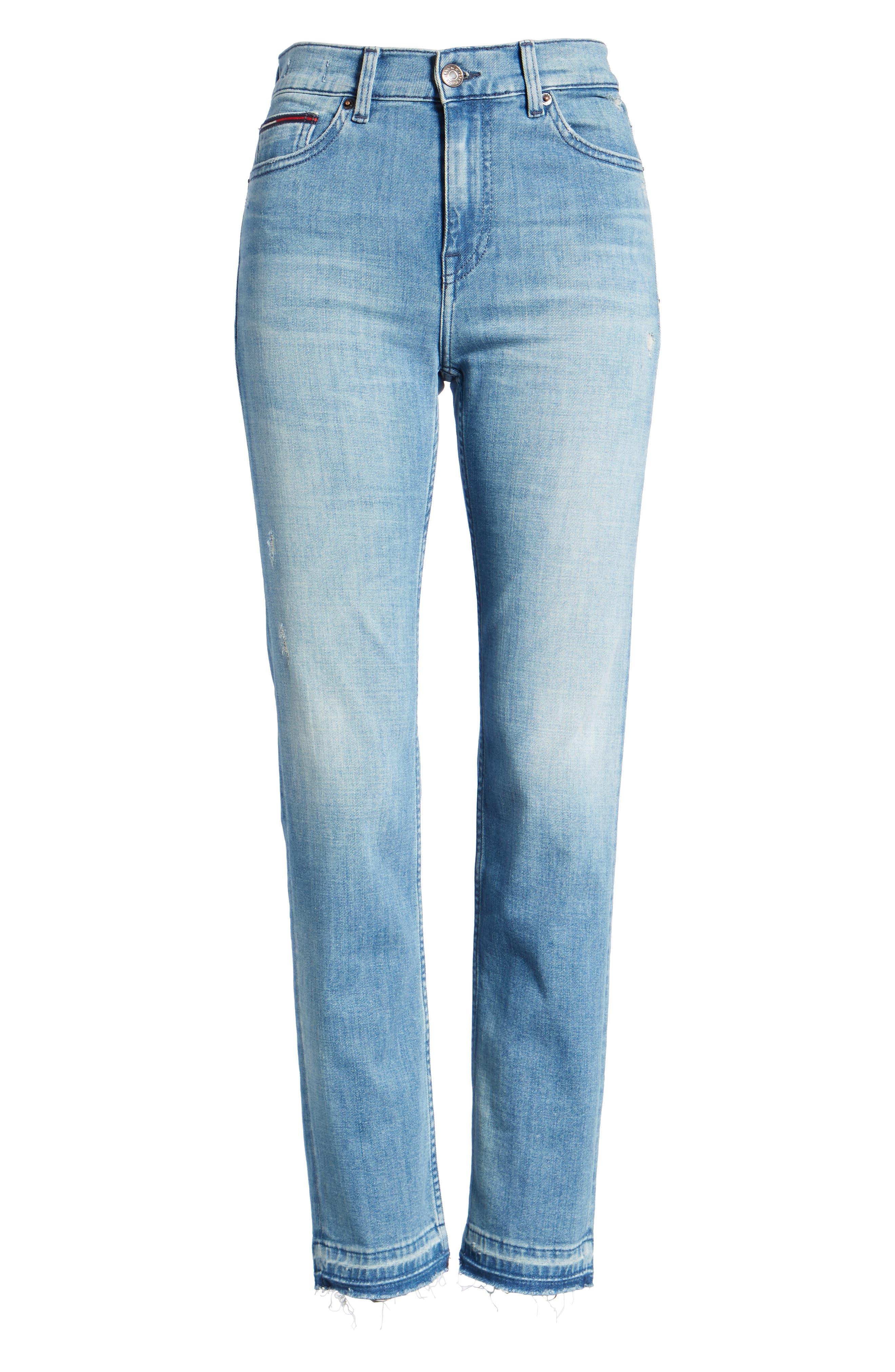 Izzy High Waist Slim Leg Jeans,                             Alternate thumbnail 7, color,                             Denver Light Blue Comfort