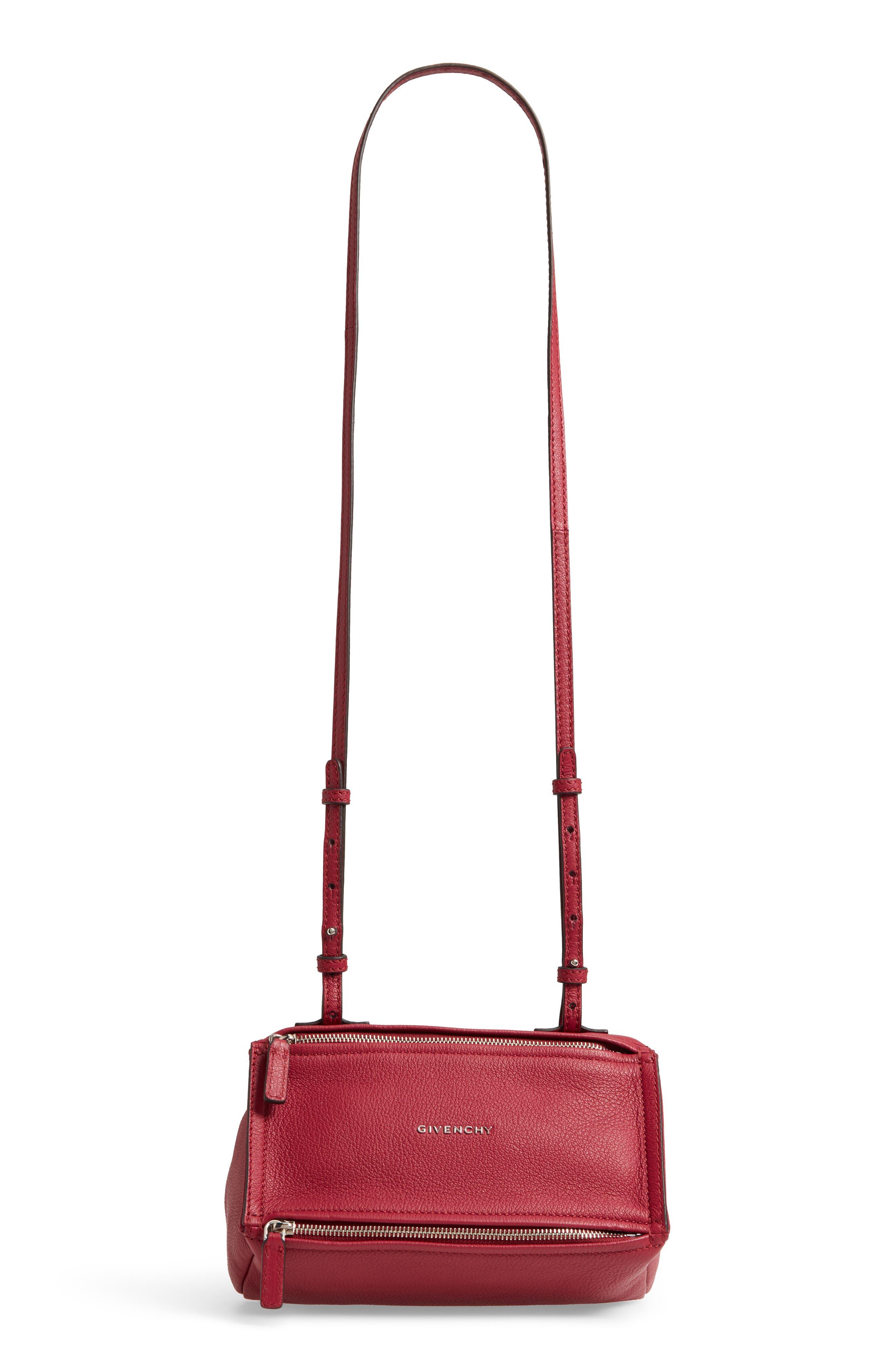 'Mini Pandora' Sugar Leather Shoulder Bag,                             Main thumbnail 1, color,                             Fig Pink