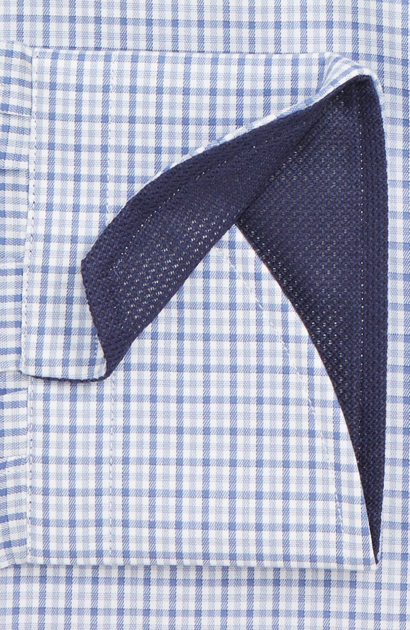 Regular Fit Check Dress Shirt,                             Alternate thumbnail 5, color,                             Medium Blue