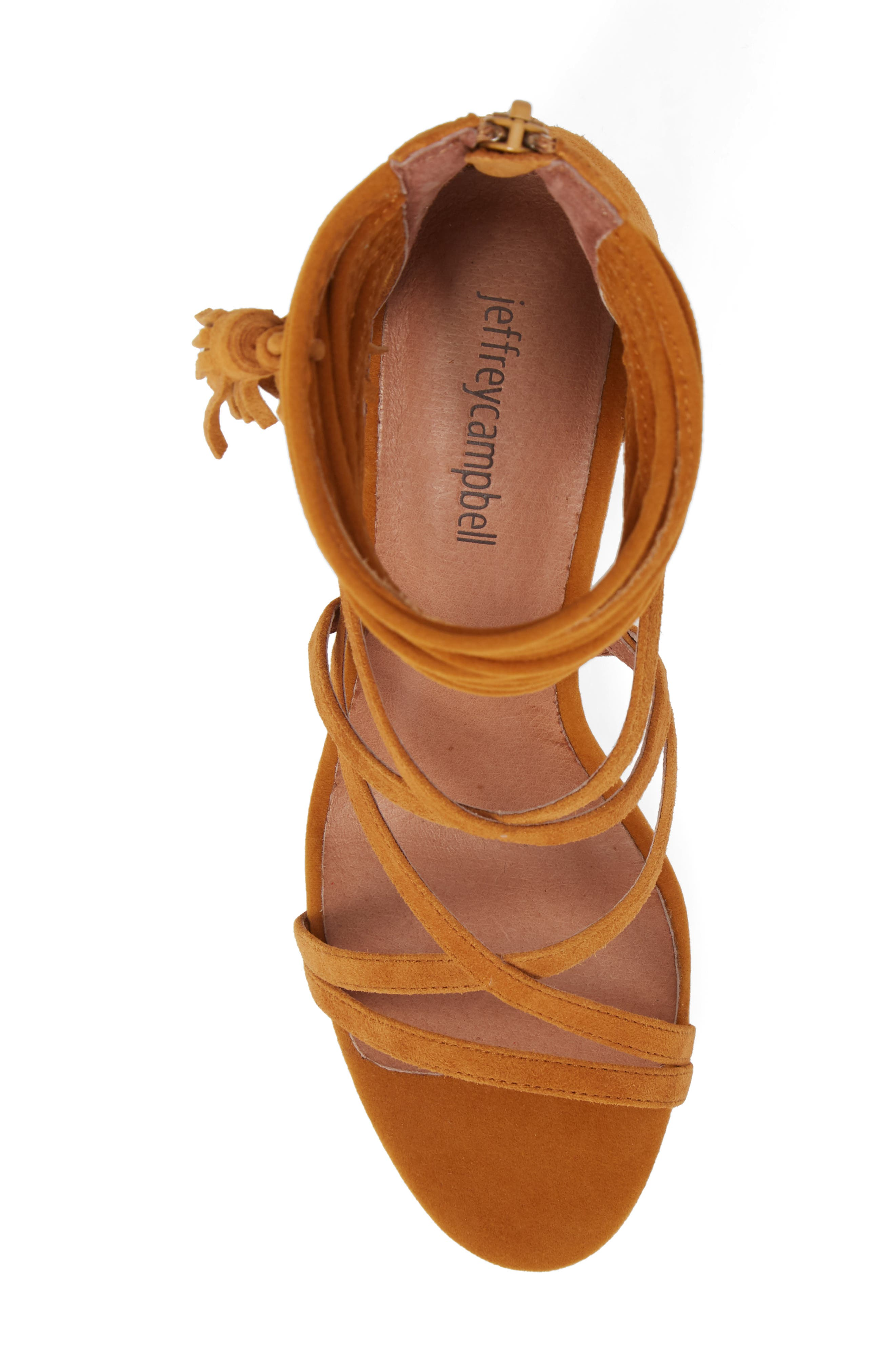 'Despina' Strappy Sandal,                             Alternate thumbnail 3, color,                             Mustard Suede