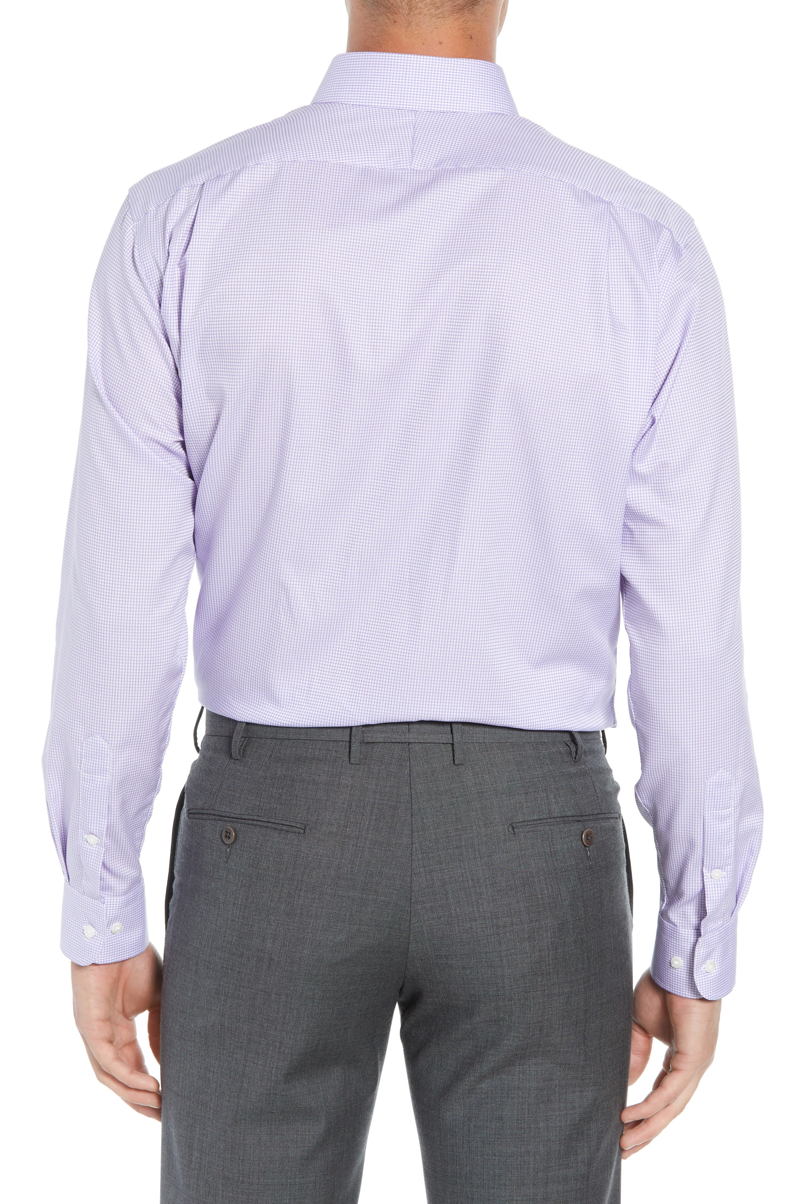 Traditional Fit Check Dress Shirt,                             Alternate thumbnail 3, color,                             Purple Chalk