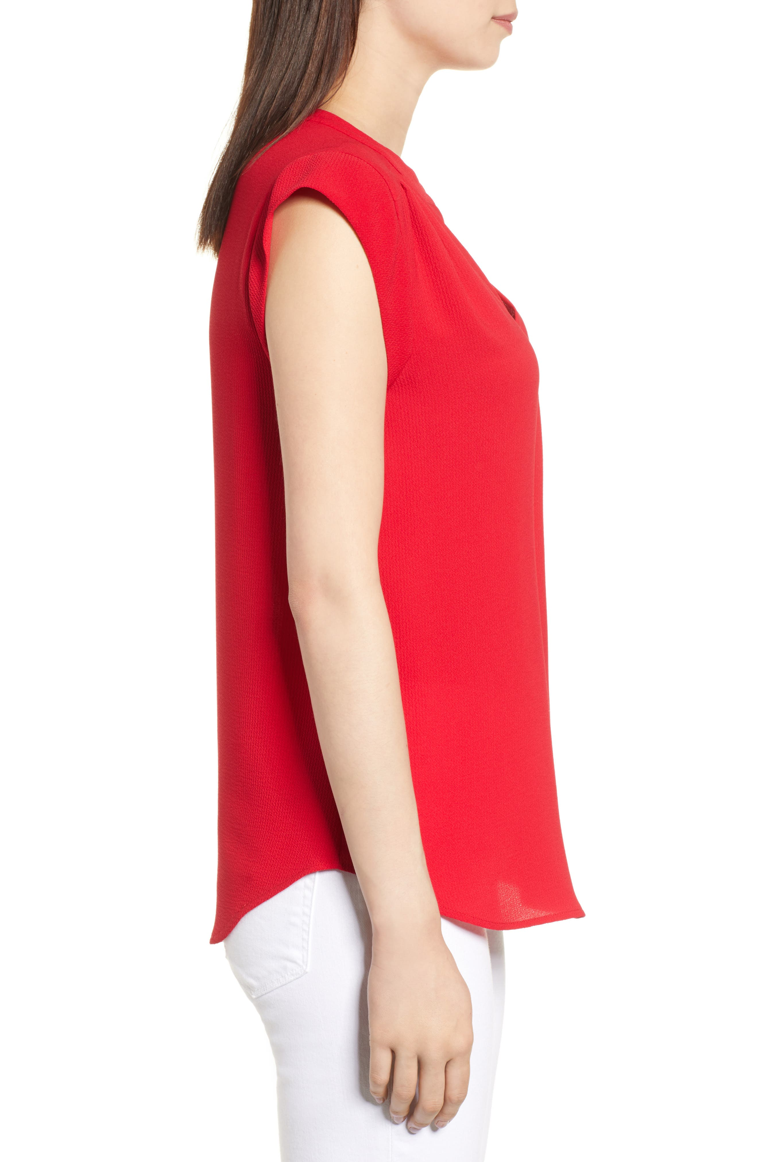 Split Neck Top,                             Alternate thumbnail 3, color,                             Red Tomato