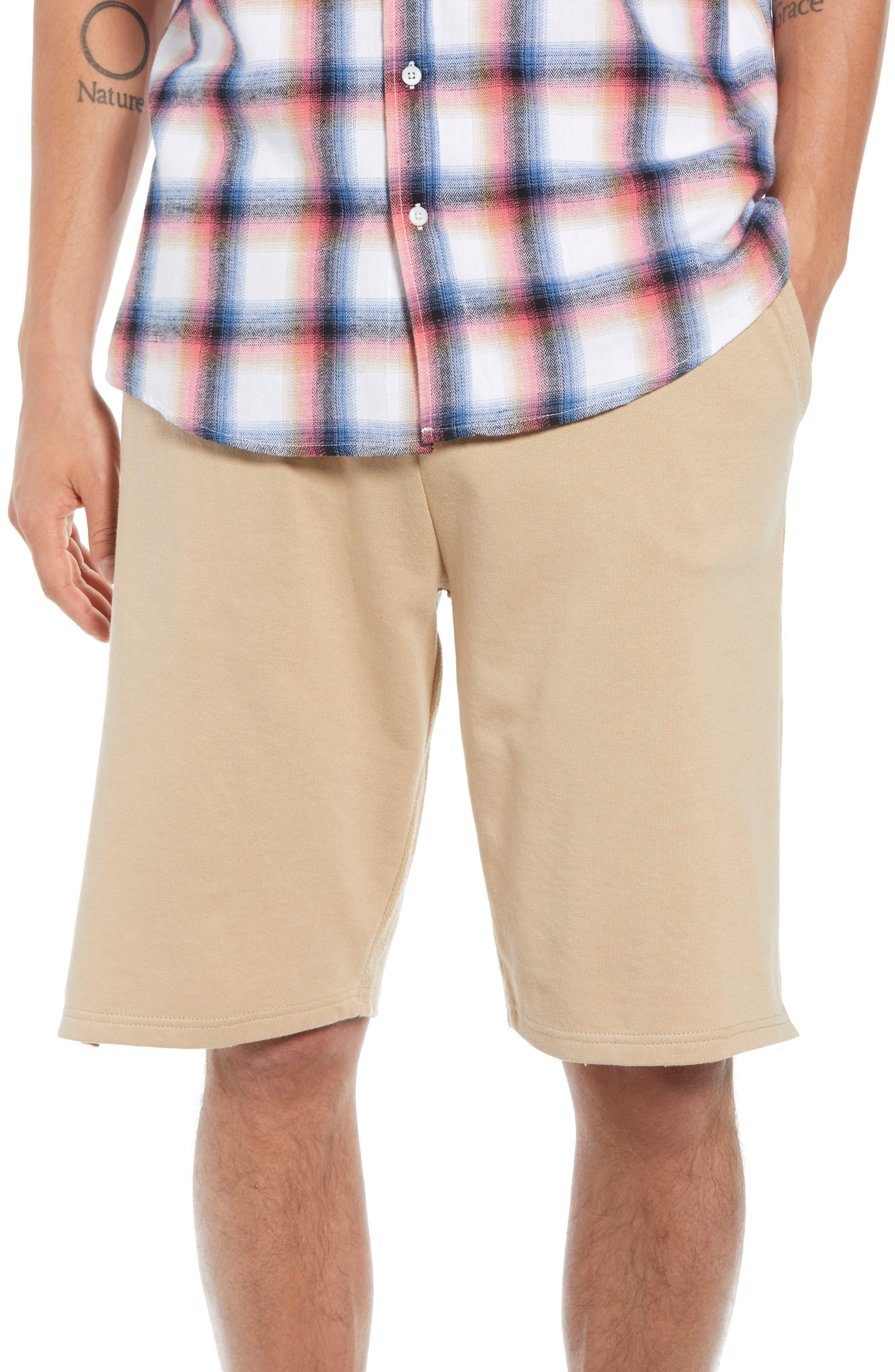 Terry Drawstring Shorts,                         Main,                         color, Tan Safari