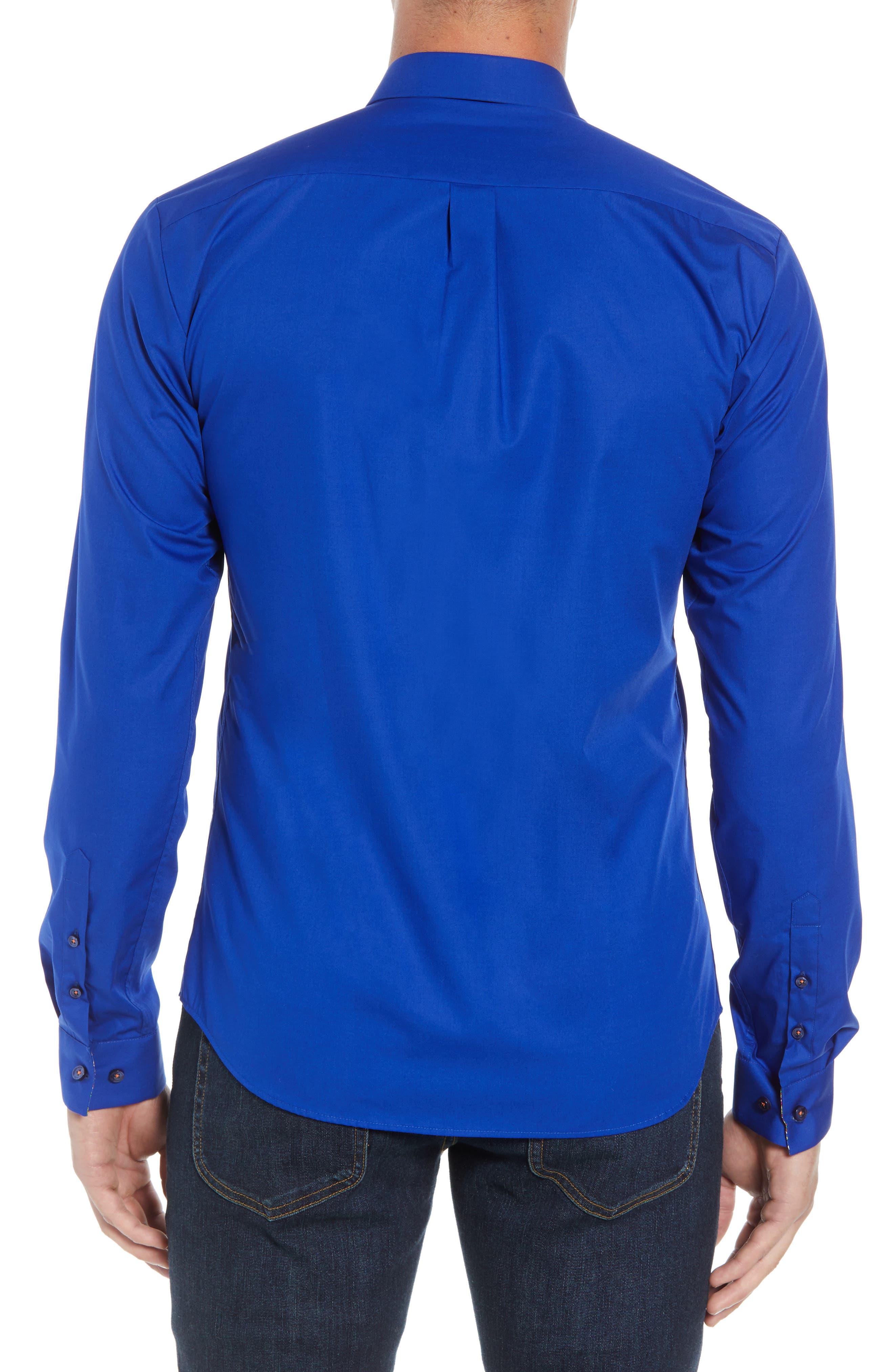 Trim Fit Sport Shirt,                             Alternate thumbnail 3, color,                             Blue