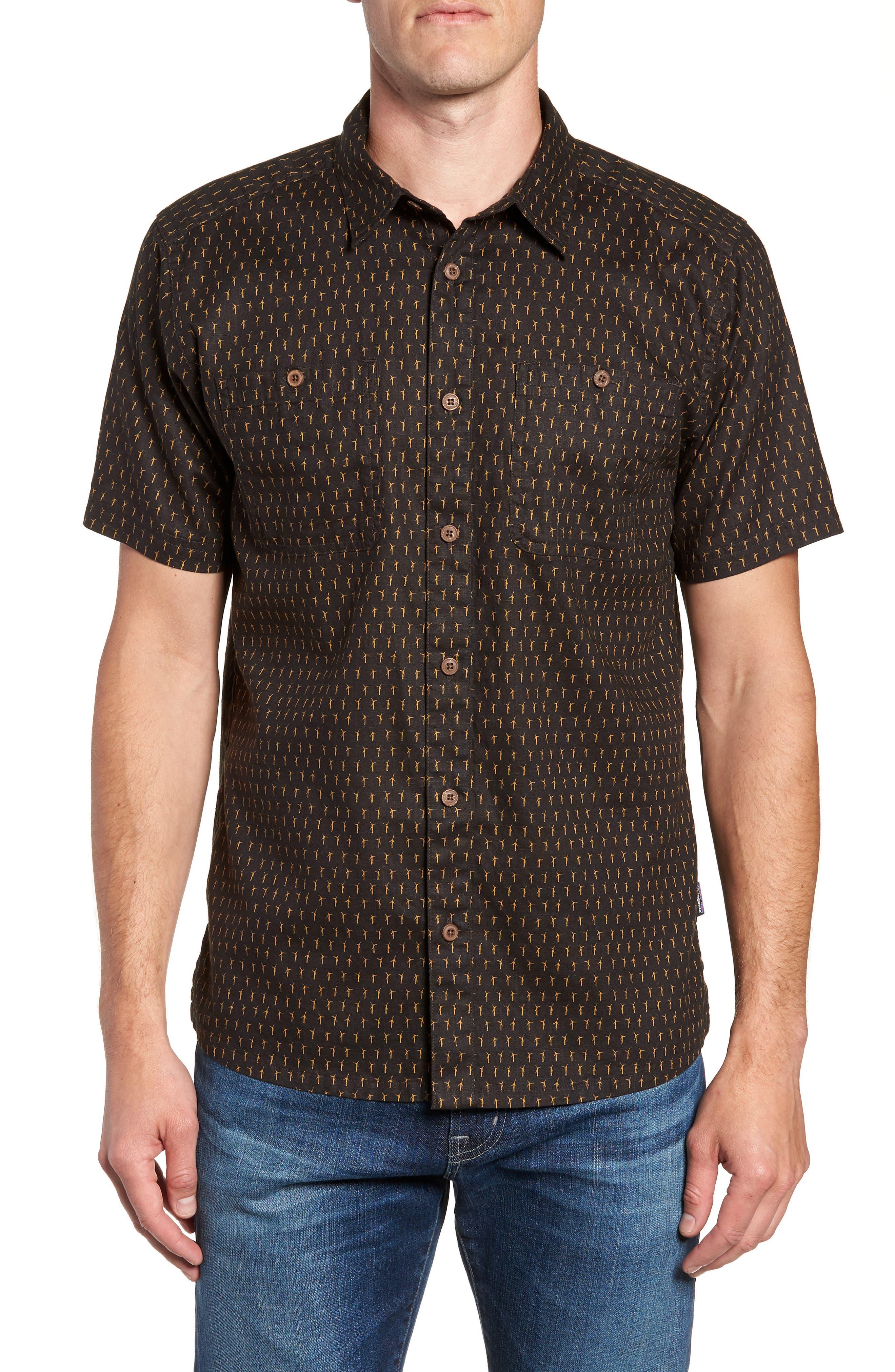 'Back Step' Regular Fit Check Short Sleeve Sport Shirt,                             Main thumbnail 1, color,                             Windmills/ Ink Black