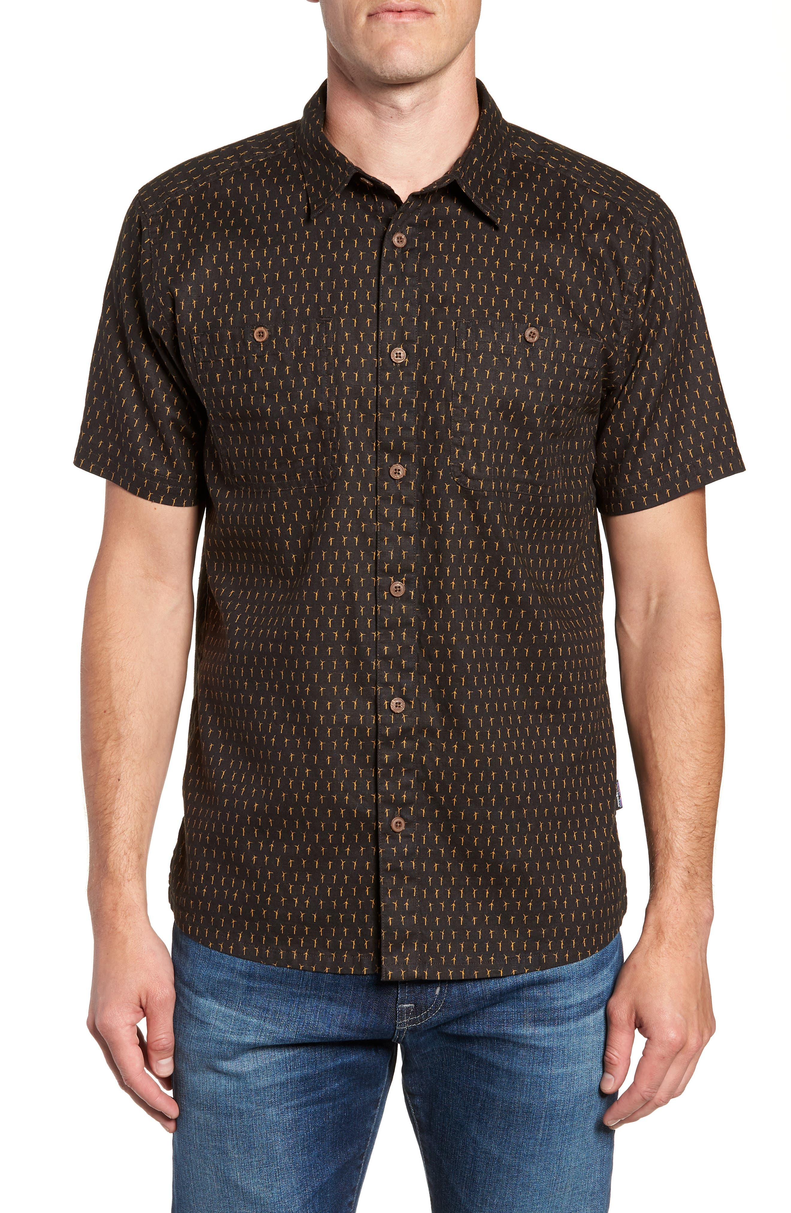 'Back Step' Regular Fit Check Short Sleeve Sport Shirt,                         Main,                         color, Windmills/ Ink Black