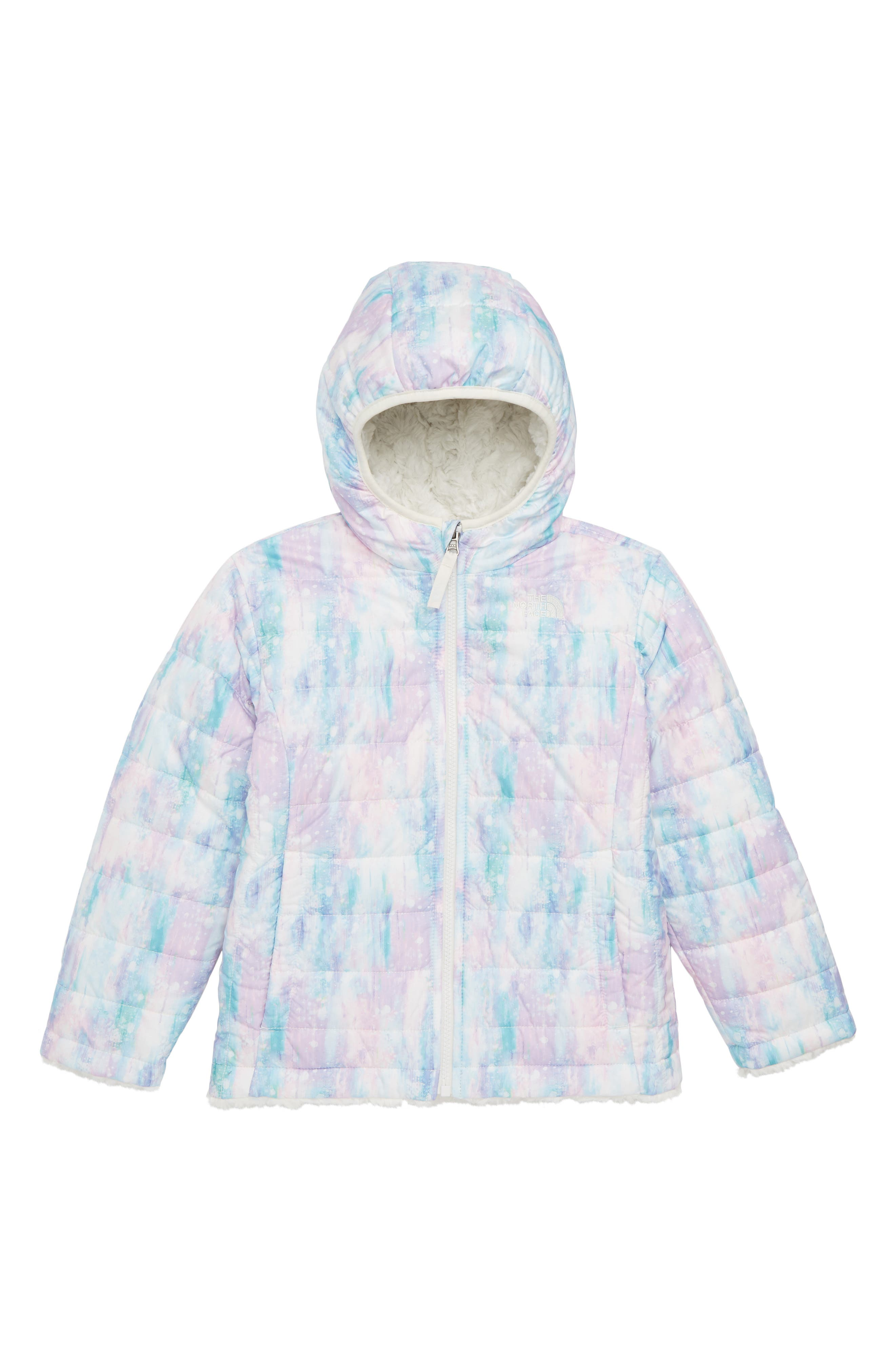 Mossbud Swirl Reversible Jacket,                             Main thumbnail 1, color,                             Purdy Pink Snow Dust Print