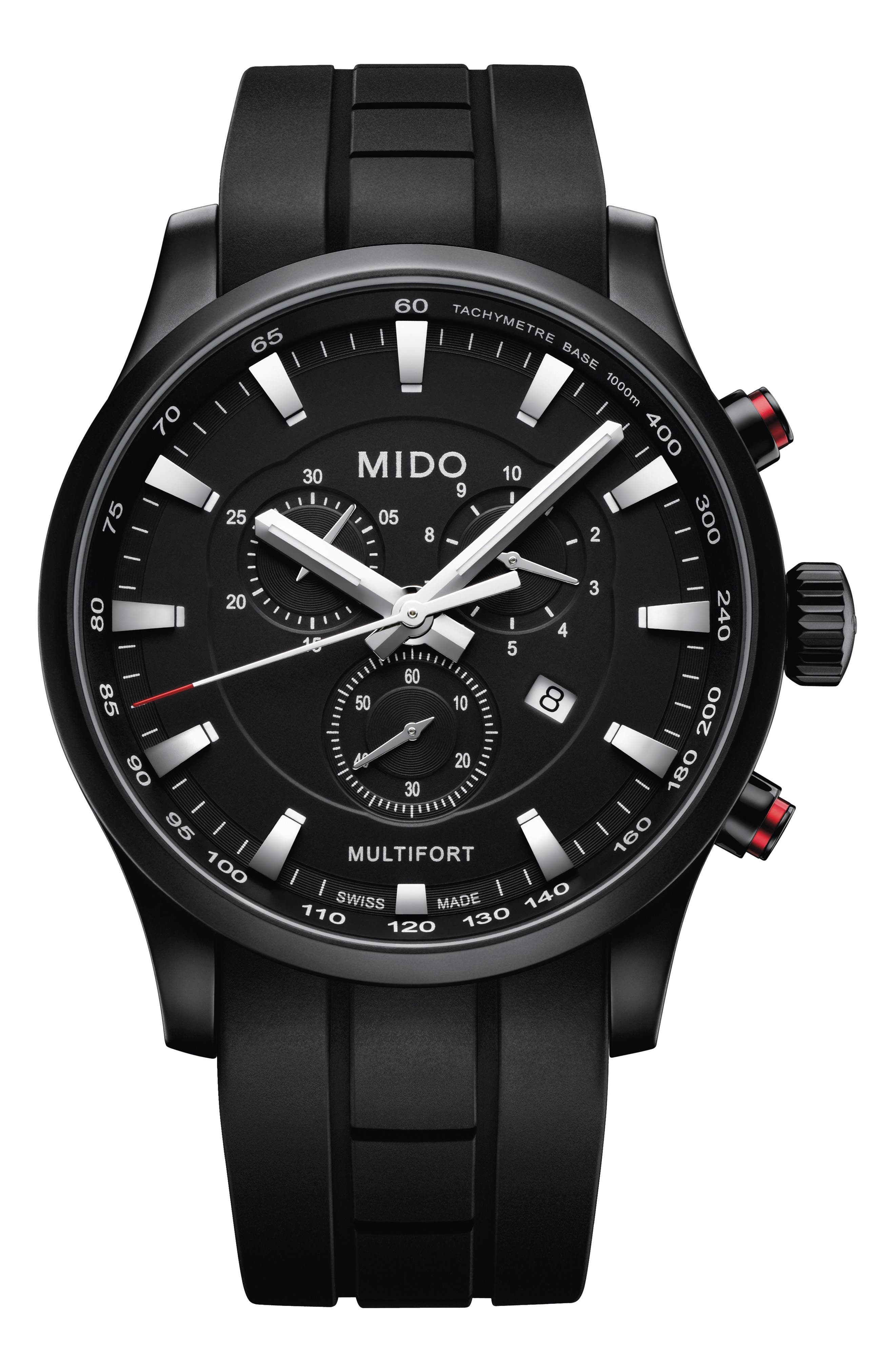 MIDO Multifort Chronograph Rubber Strap Watch in Black/ Silver