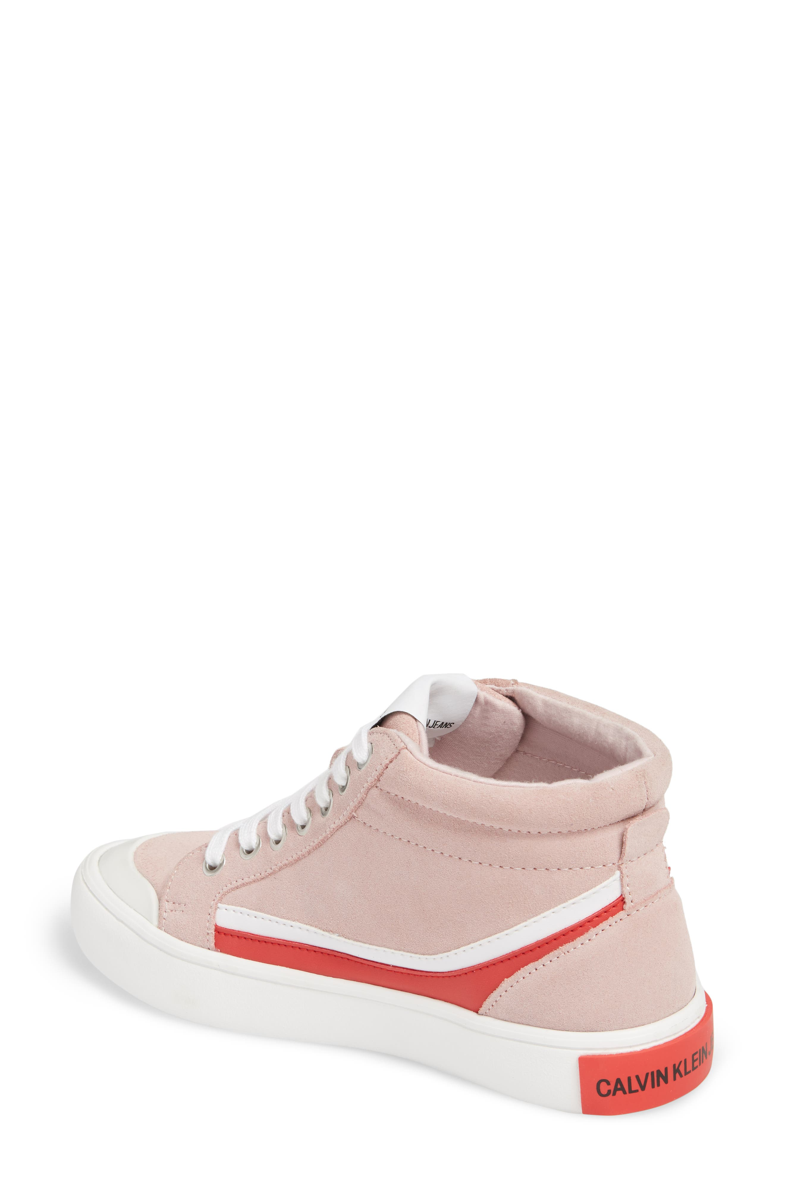 High Top Sneaker,                             Alternate thumbnail 2, color,                             Chintz Rose/ White/ Tomato