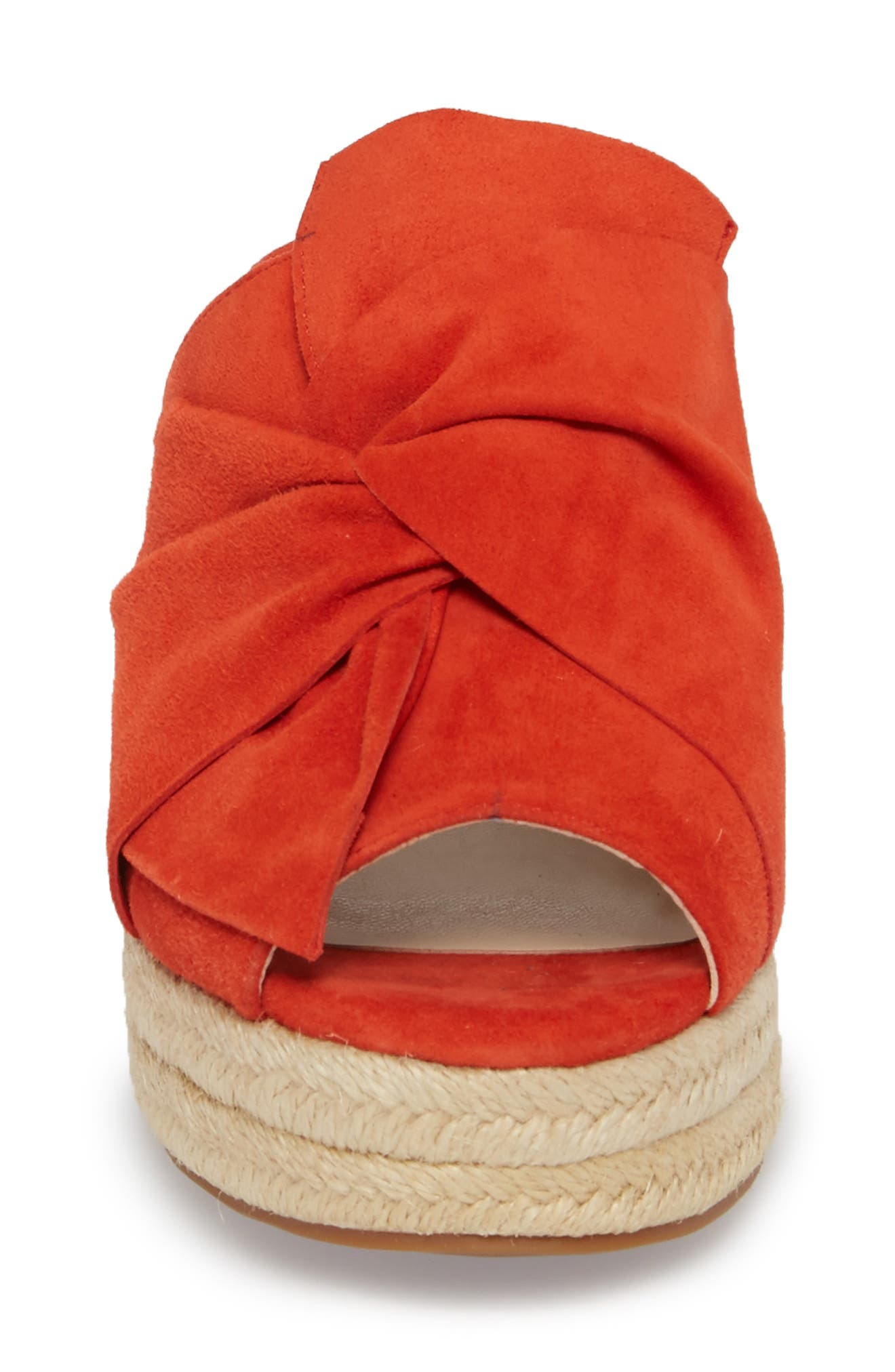 Carima Espadrille Wedge,                             Alternate thumbnail 4, color,                             Bright Coral Suede